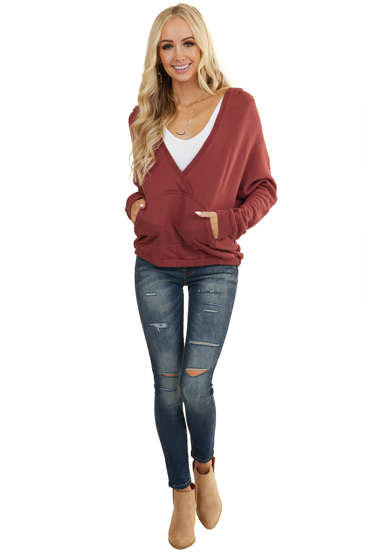 Marsala V Neck Surplice Hoodie with Kangaroo Pouch