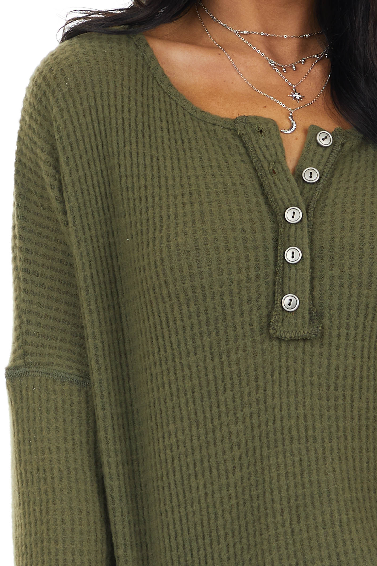Army Green Waffle Knit Henley Top with Long Sleeves