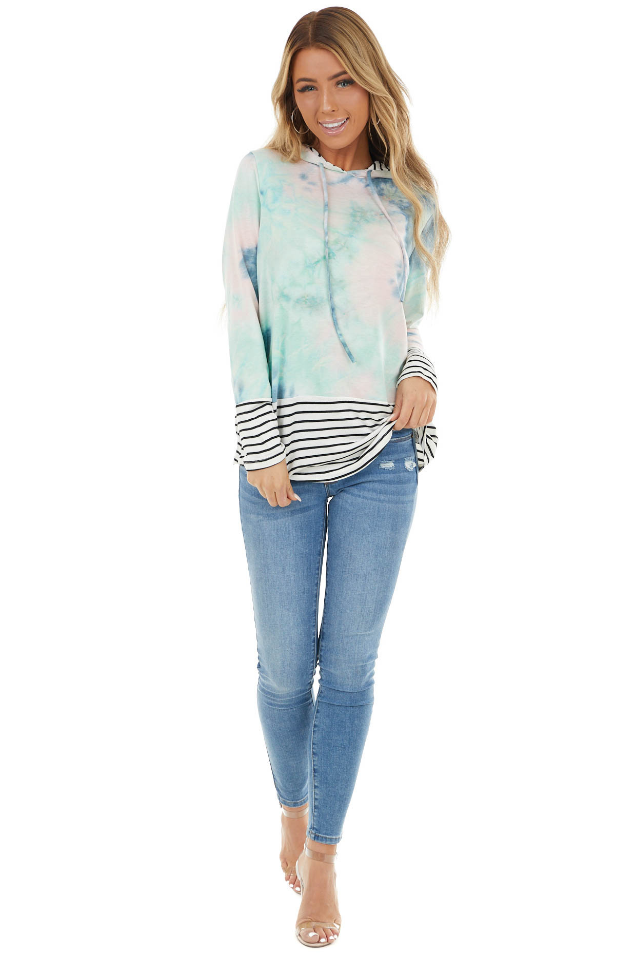 Multicolor Tie Dye and Striped Hoodie with Drawstrings