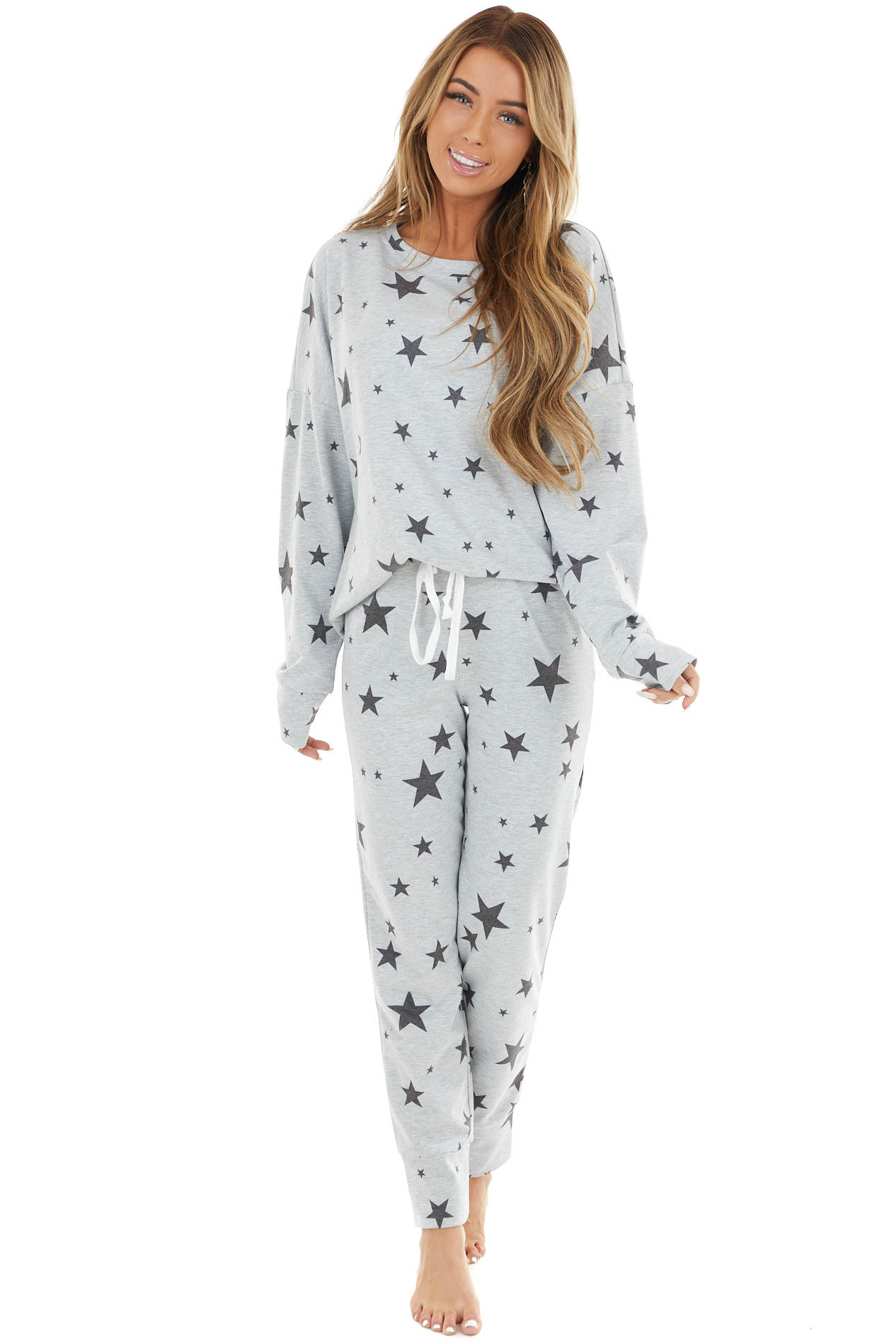 Heather Grey Star Print Long Sleeve Top and Jogger Pant Set