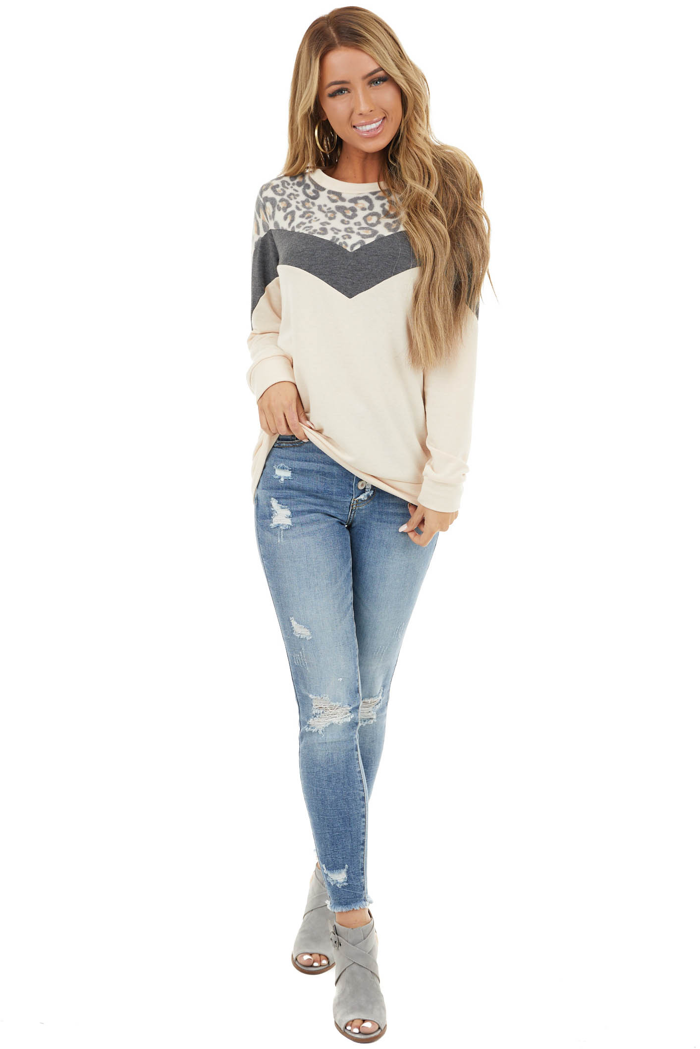 Beige and Fuzzy Leopard Print Color Block Long Sleeve Top