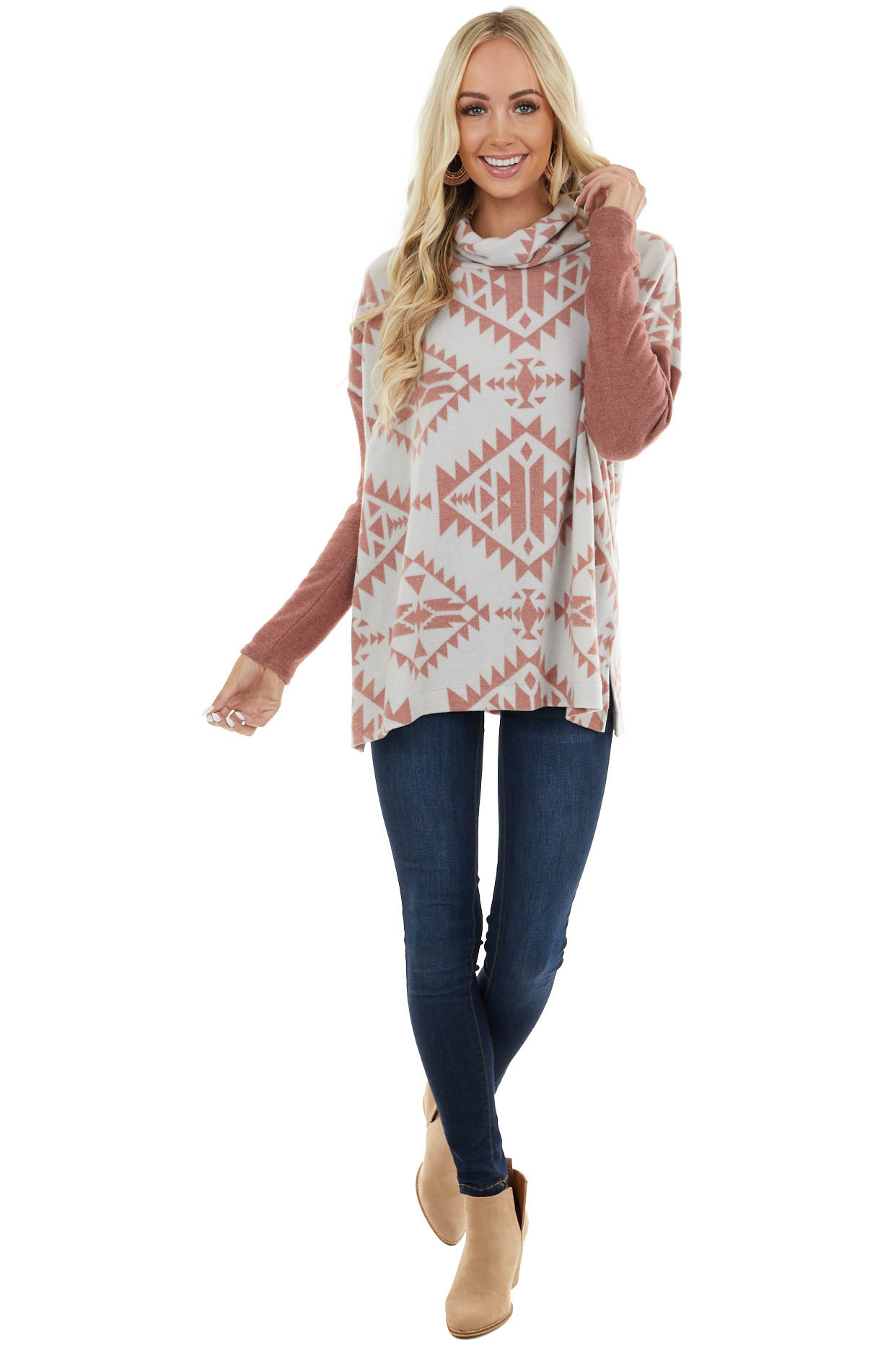 Mauve and Off White Aztec Print Oversize Top with Cowl Neck