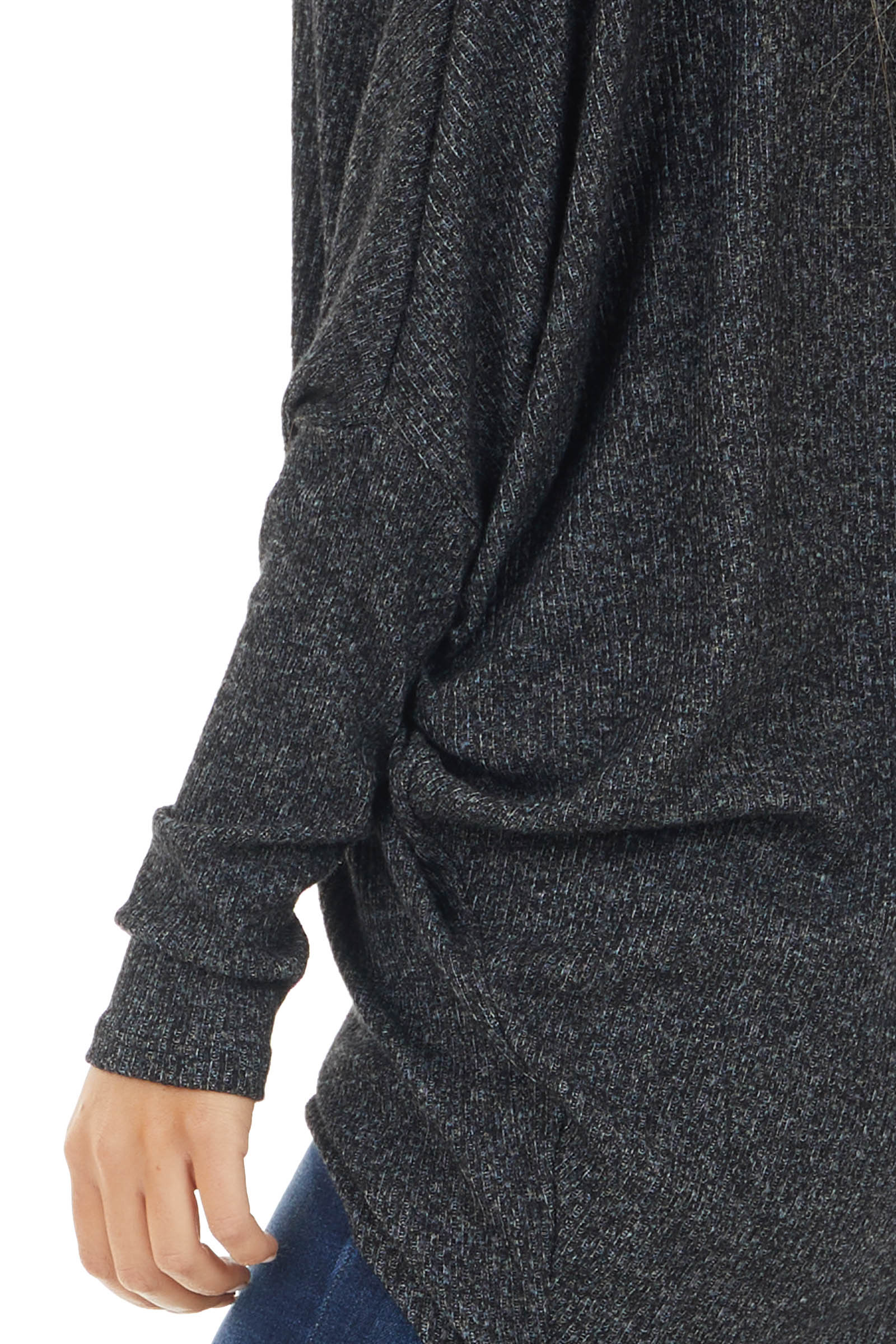 Heathered Charcoal Knit Top with Long Dolman Sleeves