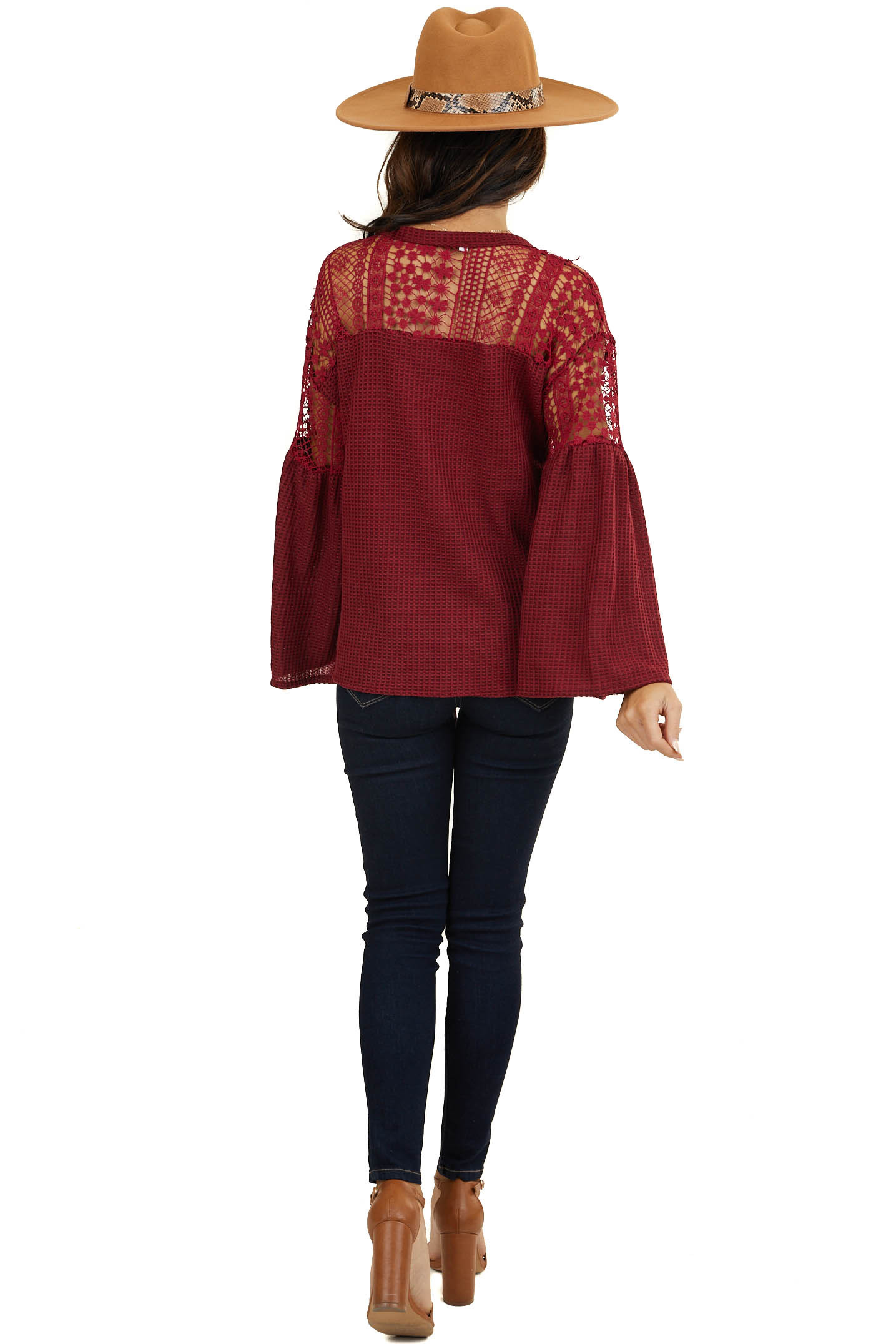 Wine Waffle Knit Top with Long Sleeves and Lace Contrast