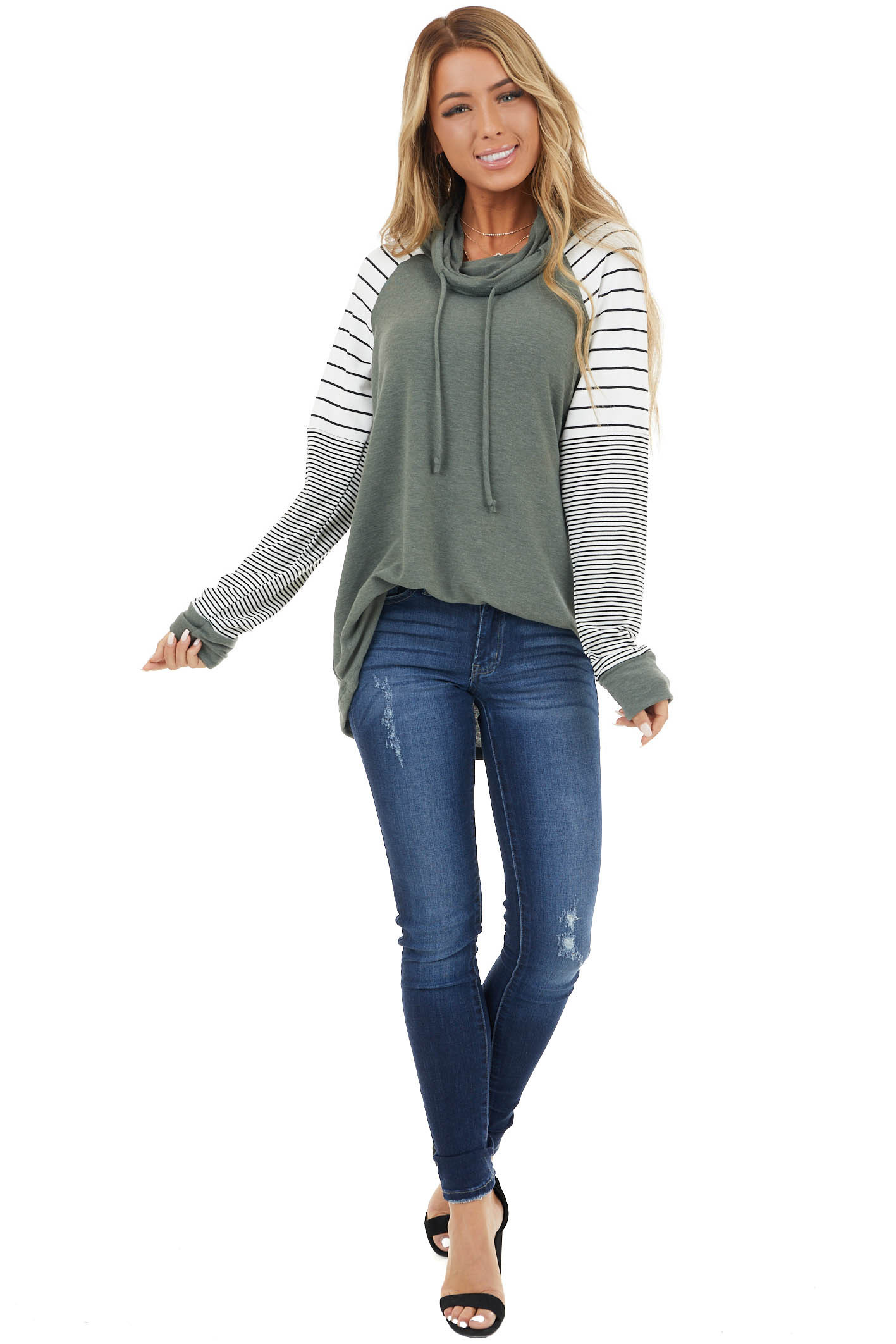 Forest Green Knit Cowl Neck Top with Long Striped Sleeves