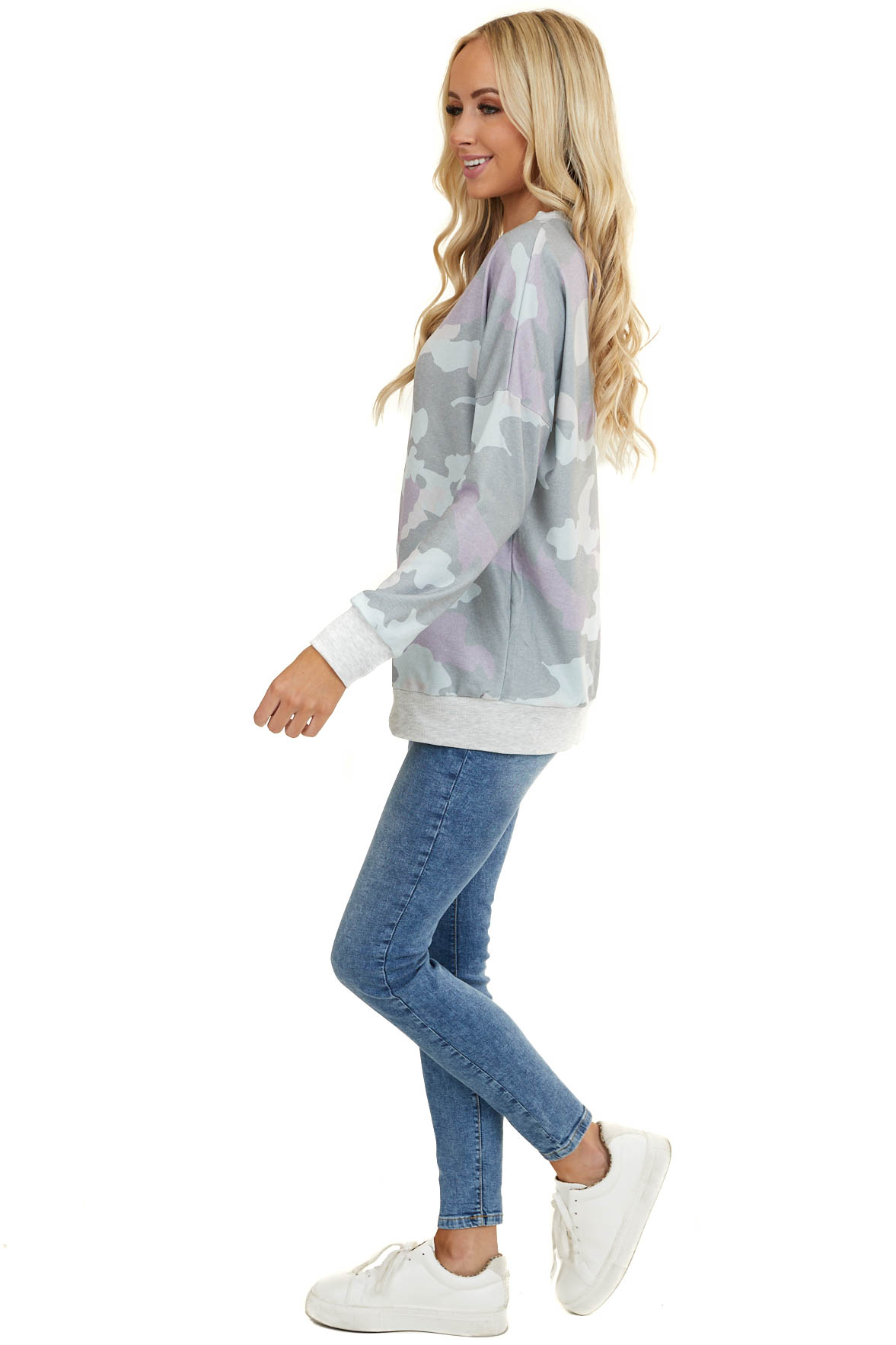 Pastel Sage and Violet Camo Print Crew Neck Long Sleeve