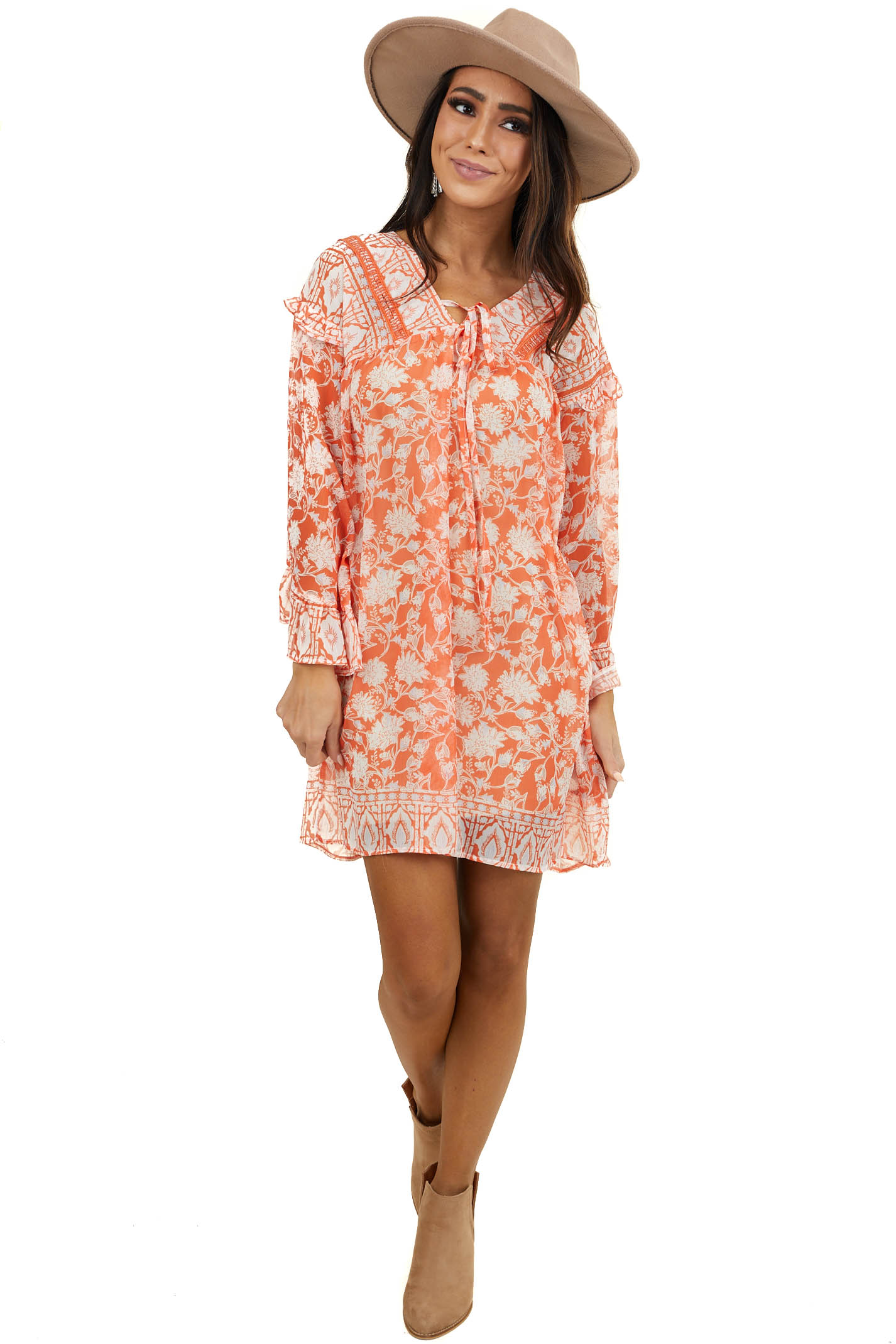 Bright Orange Floral Print Flowy Dress with Trumpet Sleeves