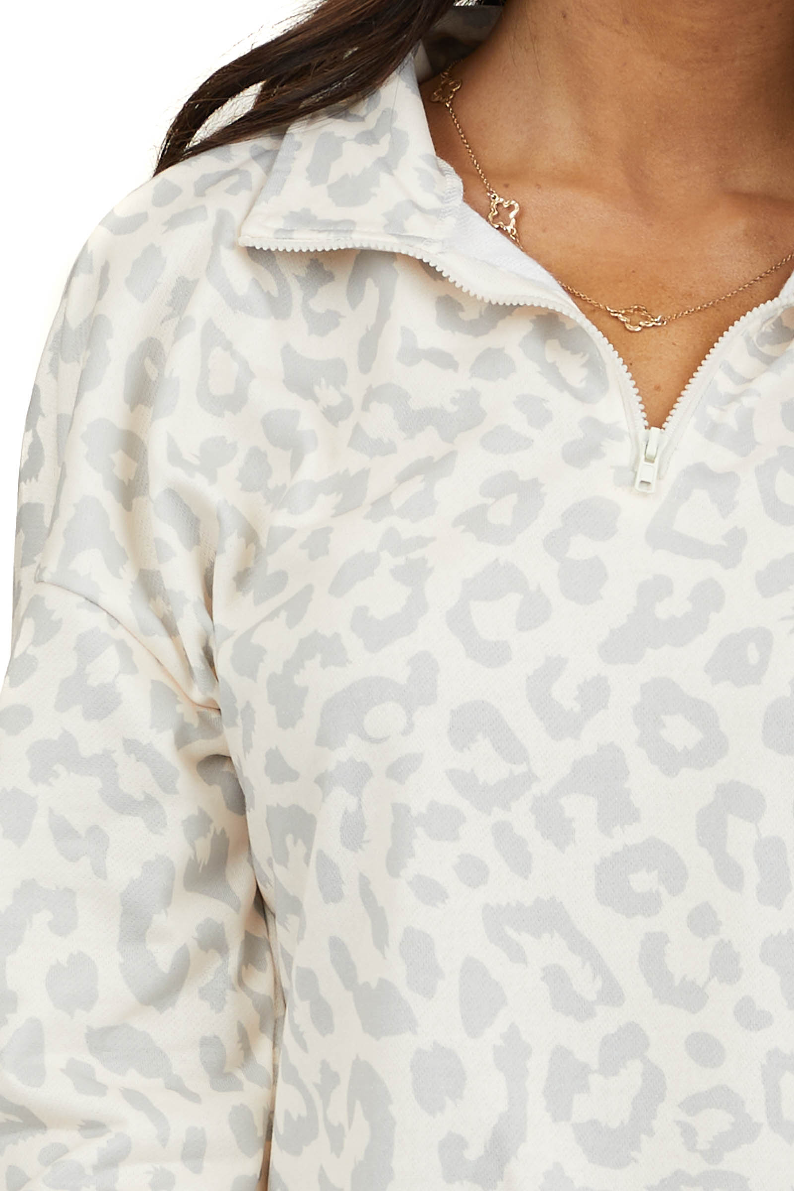 Ivory and Dove Grey Leopard Long Sleeve Half Zip Jacket