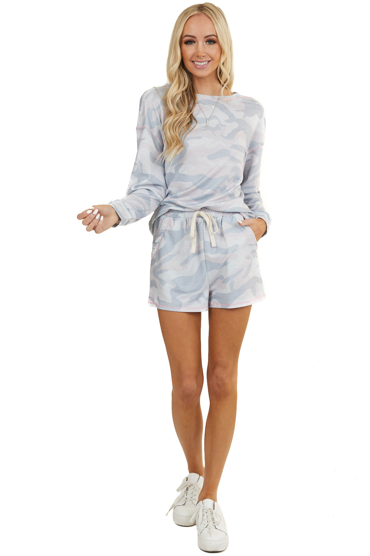 Baby Pink and Slate Camo Print Long Sleeve and Short Set