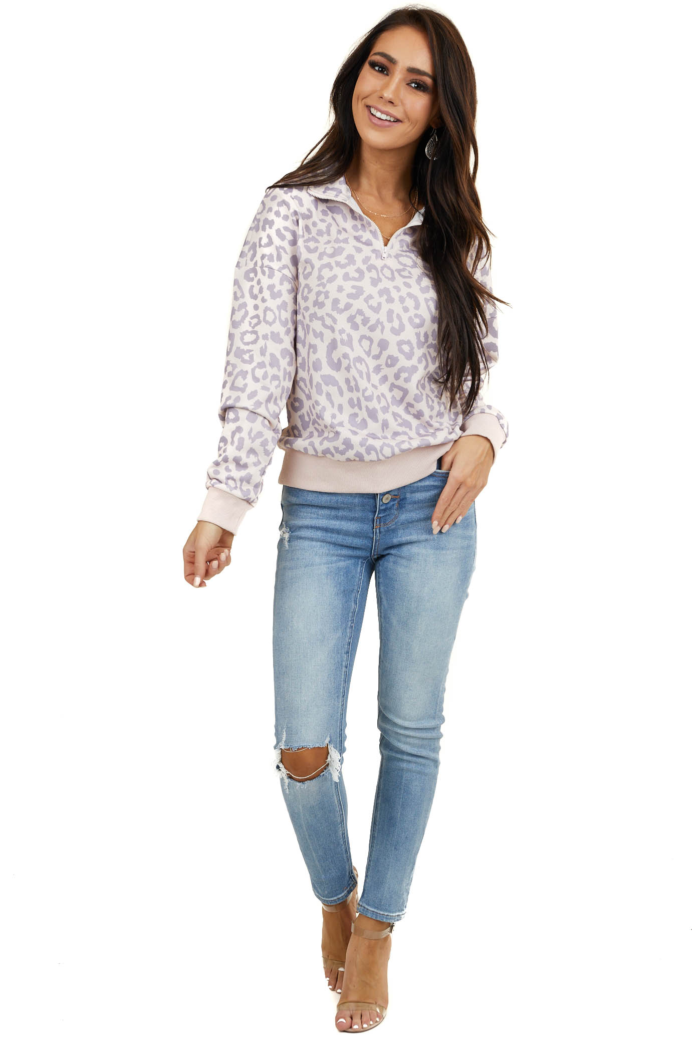 Blush and Lavender Leopard Print Long Sleeve Half Zip Jacket