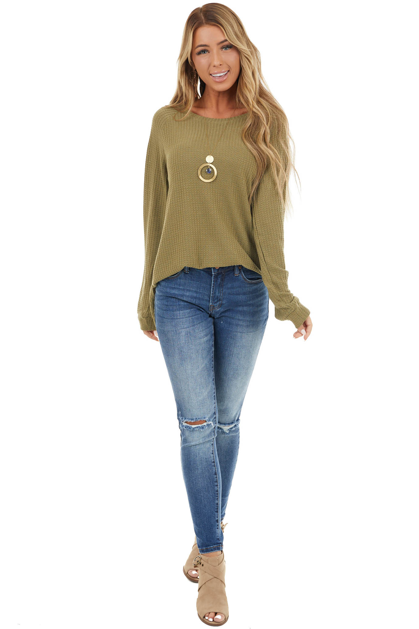 Olive Soft Open Front Cardigan with Draped Ne