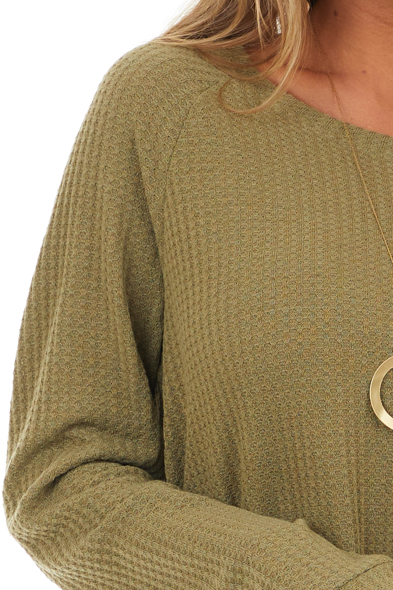 Olive Long Sleeve Waffle Knit Top with Rounded Neckline