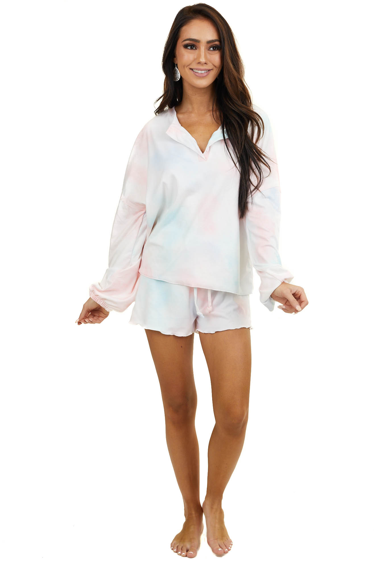 Pale Multicolor Tie Dye Top and Shorts Loungewear Set