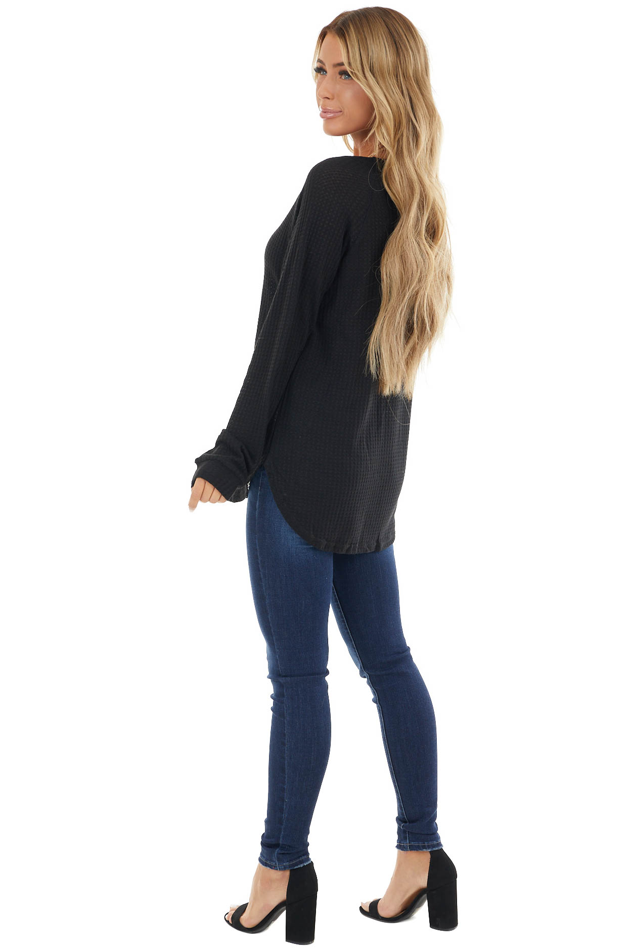 Black Long Sleeve Waffle Knit Top with Rounded Neckline