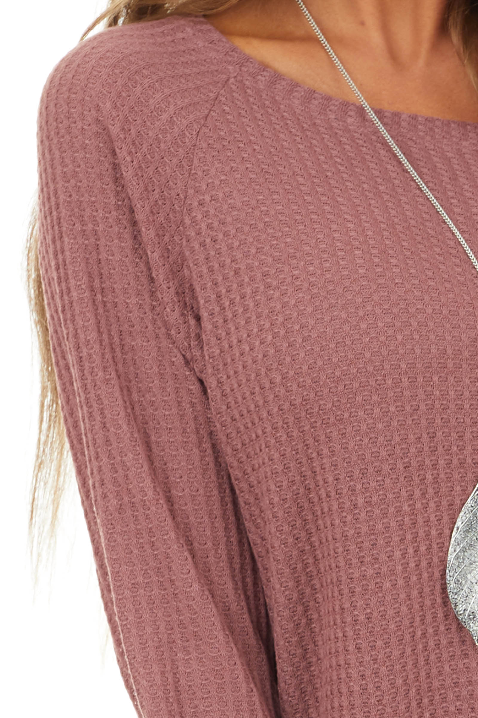 Mauve Long Sleeve Waffle Knit Top with Rounded Neckline