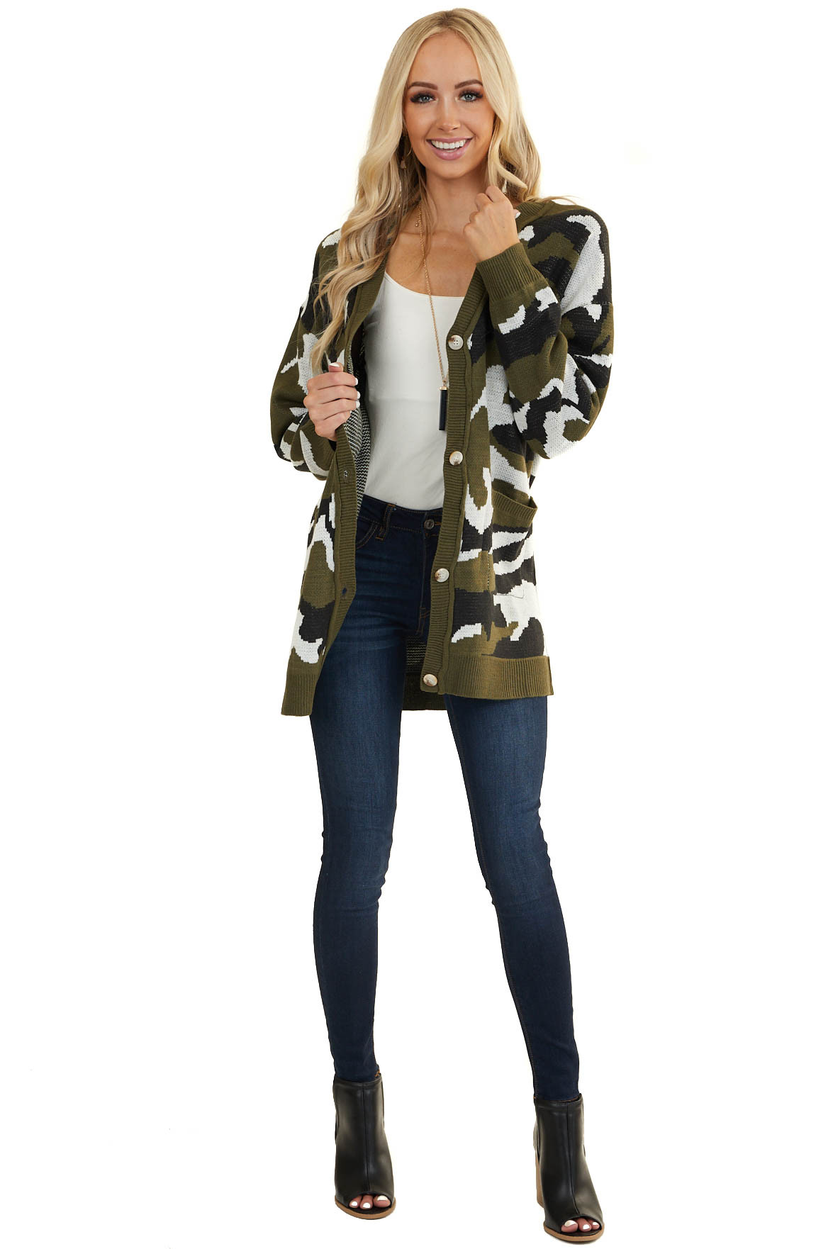 Dark Olive Camo Print Button Up Cardigan with Front Pockets