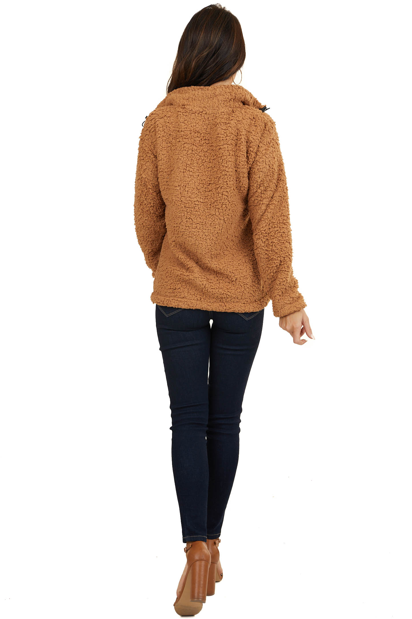 Light Brown Soft Hoodie with Half Zipper and Front Pocket