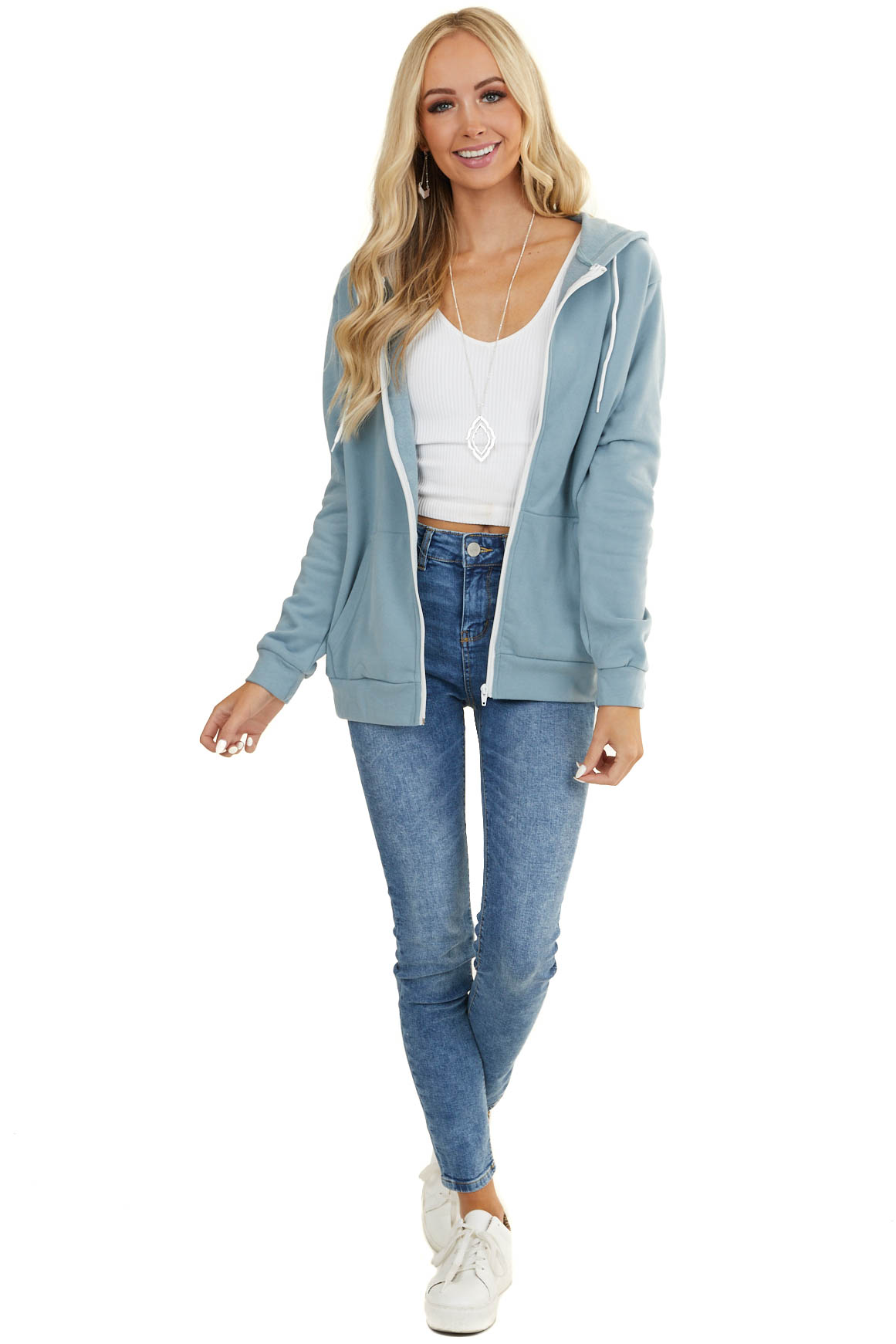 Powder Blue Zip Up Hoodie with White Drawstrings and Pockets