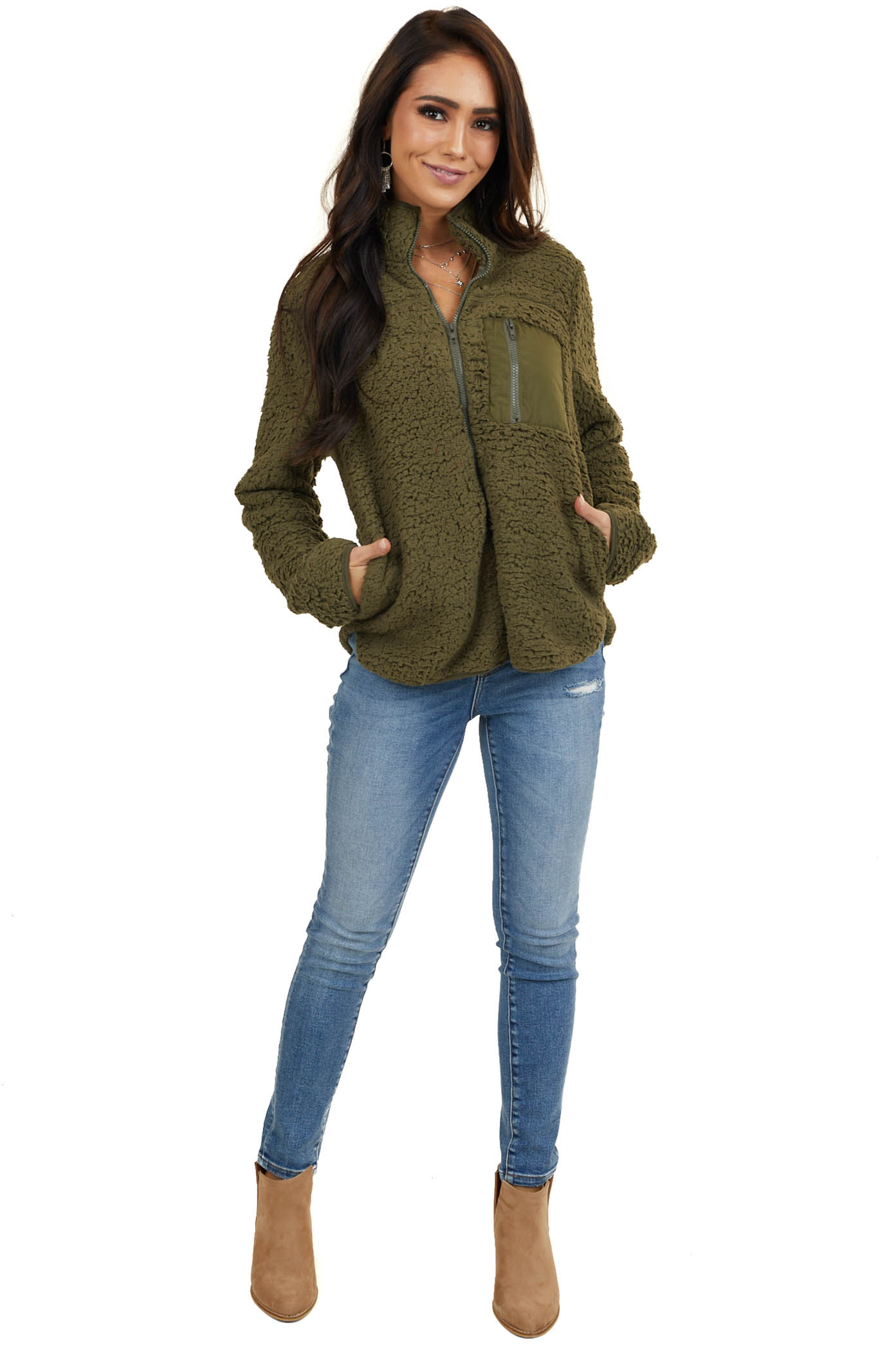 Dusty Forest Green Sherpa Jacket with Chest and Side Pockets