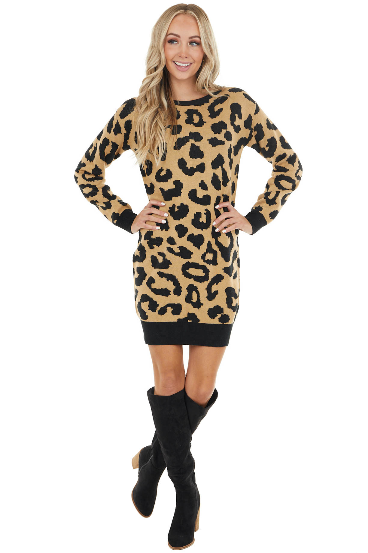 Beige Leopard Mini Knit Sweater Dress with Long Sleeves