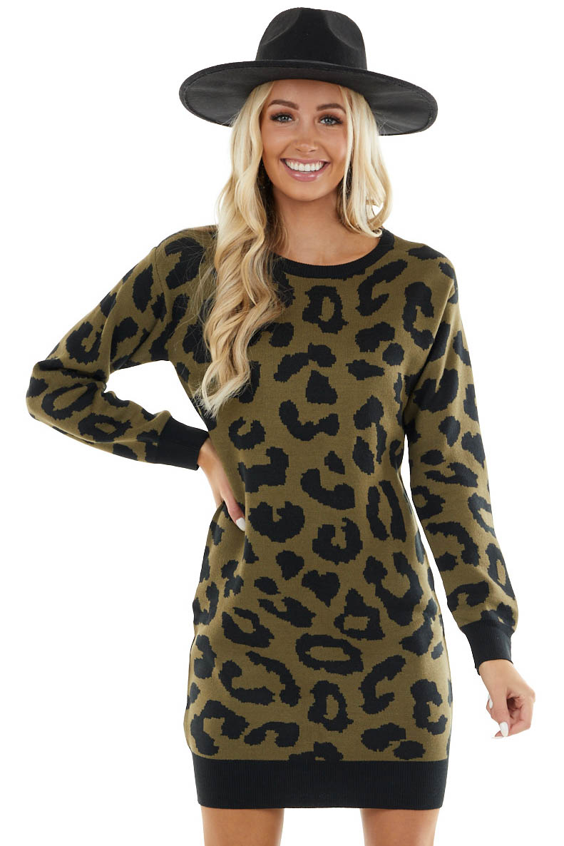 Dusty Olive Leopard Mini Sweater Dress with Long Sleeves