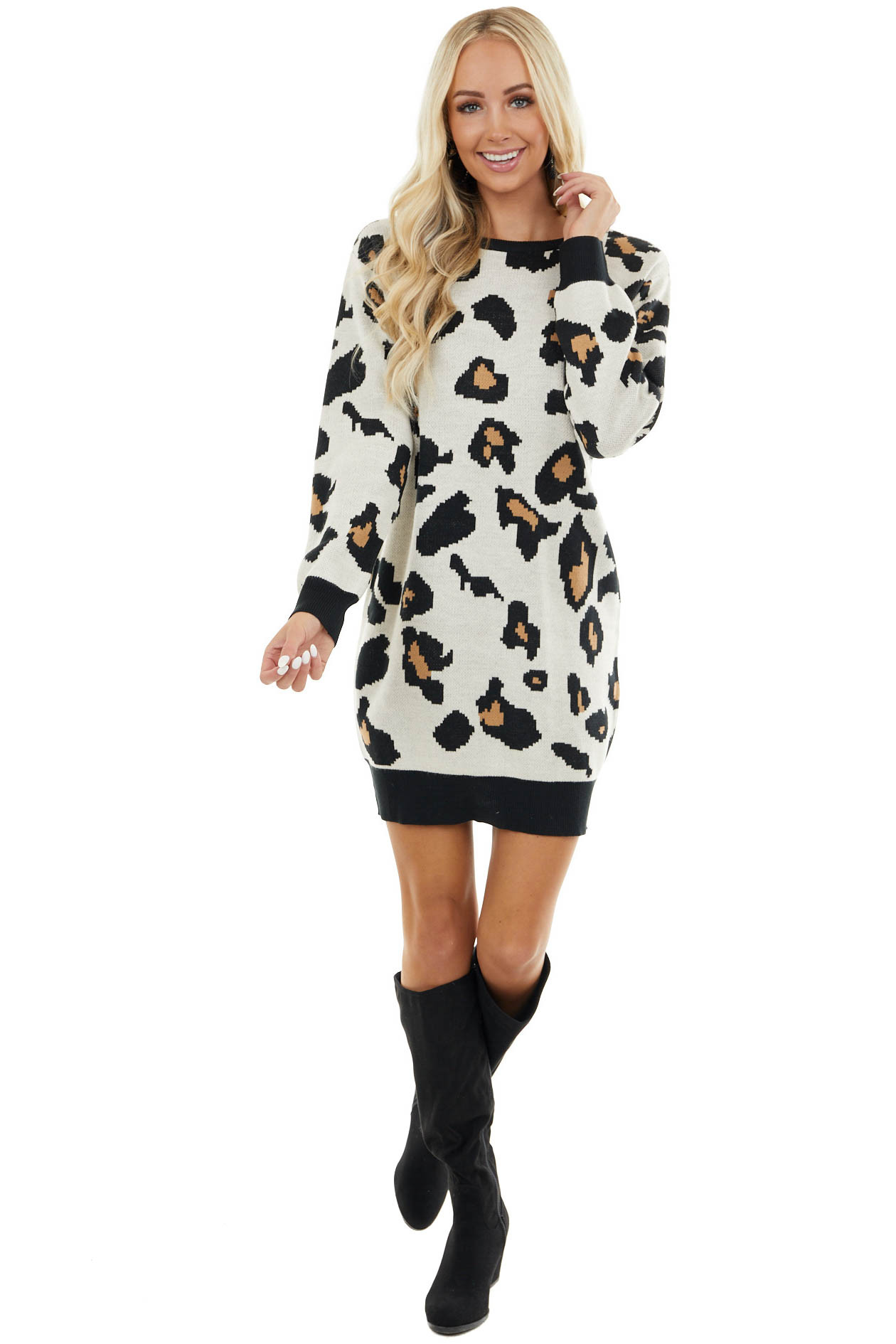 Off White Leopard Mini Sweater Dress with Long Sleeves