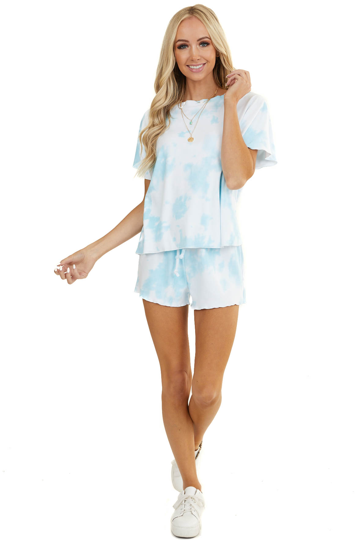 Sky Blue Tie Dye Short Sleeve Top and Shorts Loungewear Set