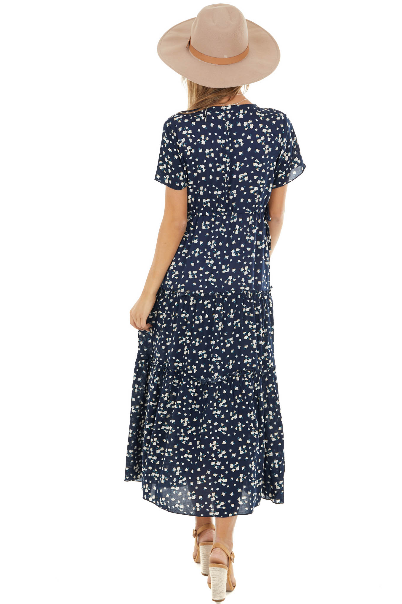 Navy Floral Print V Neck Midi Dress with Slit and Waist Tie