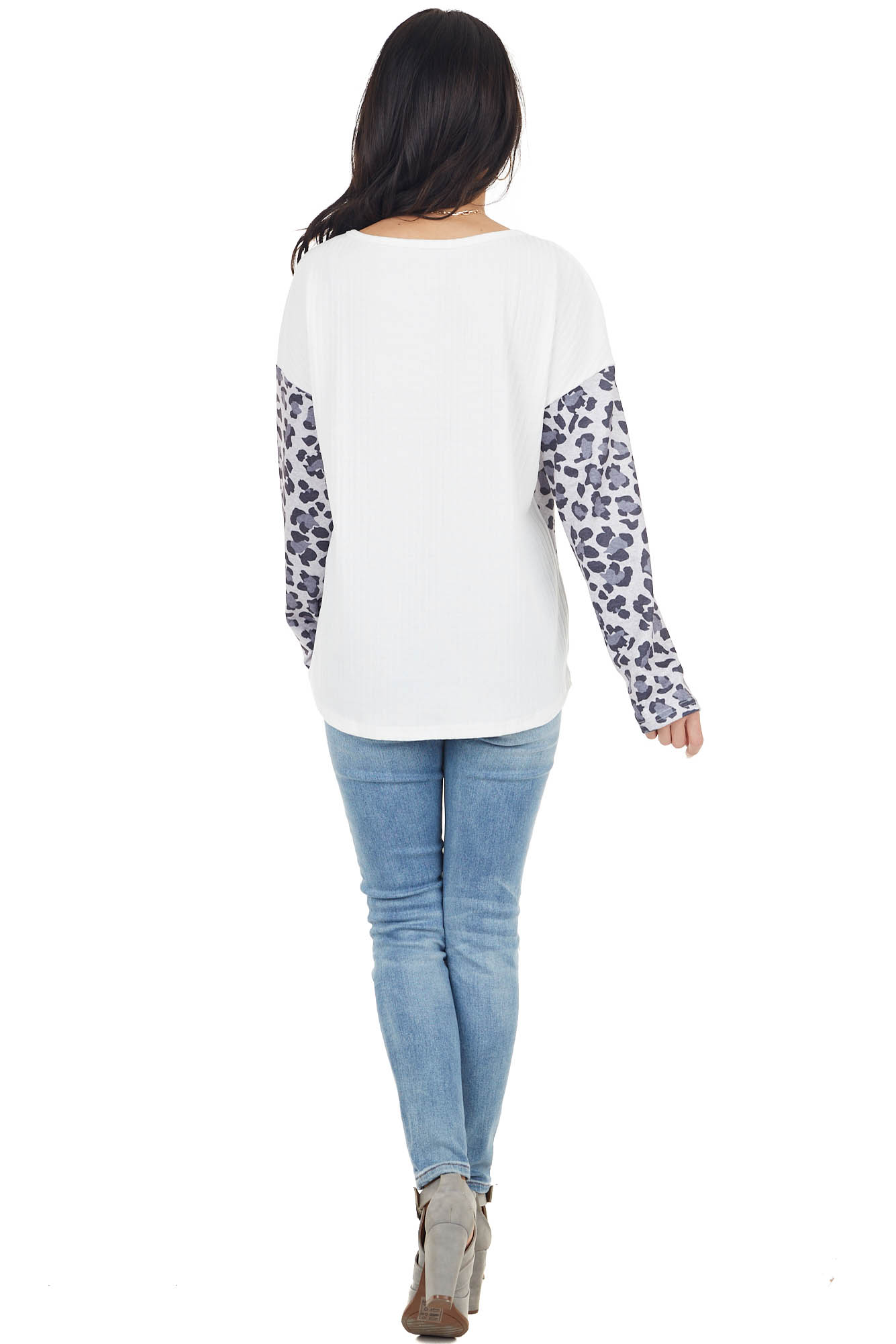 Ivory and Grey Leopard Colorblock Long Sleeve Ribbed Top