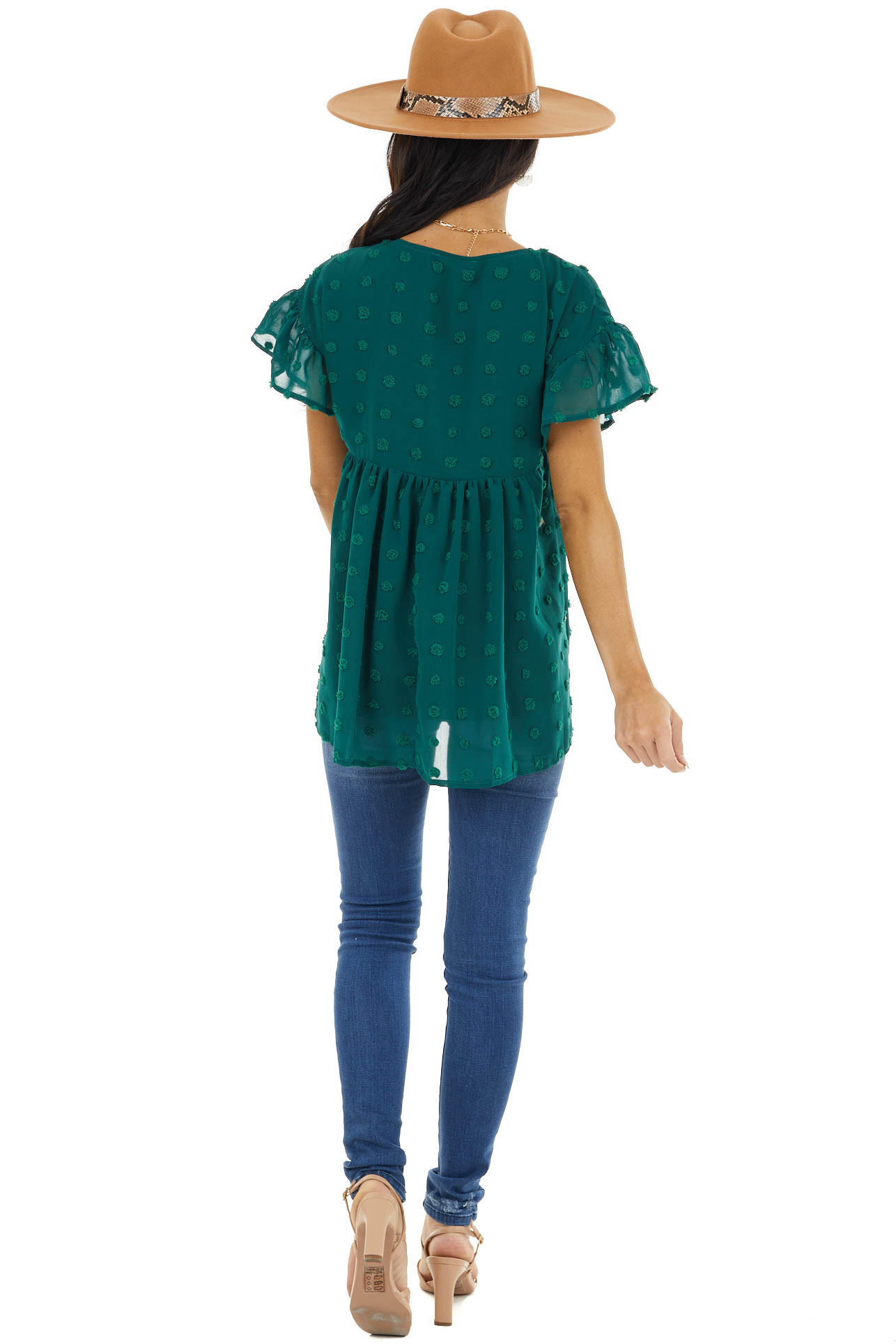 Forest Large Swiss Dot Babydoll Woven Top with Short Sleeves