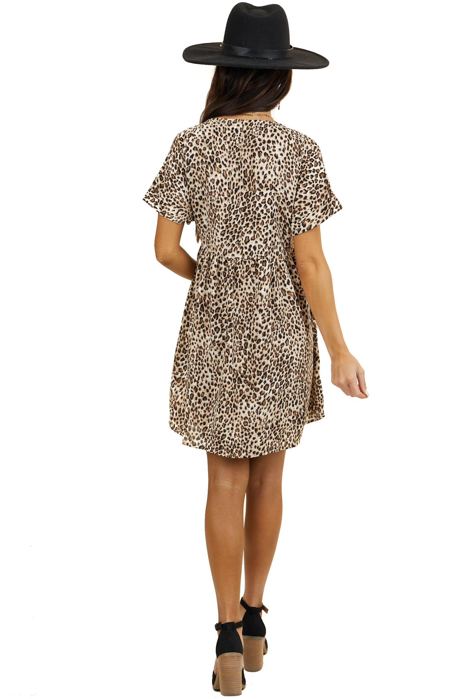 Beige Leopard Print Babydoll V Neck Mini Dress with Pockets