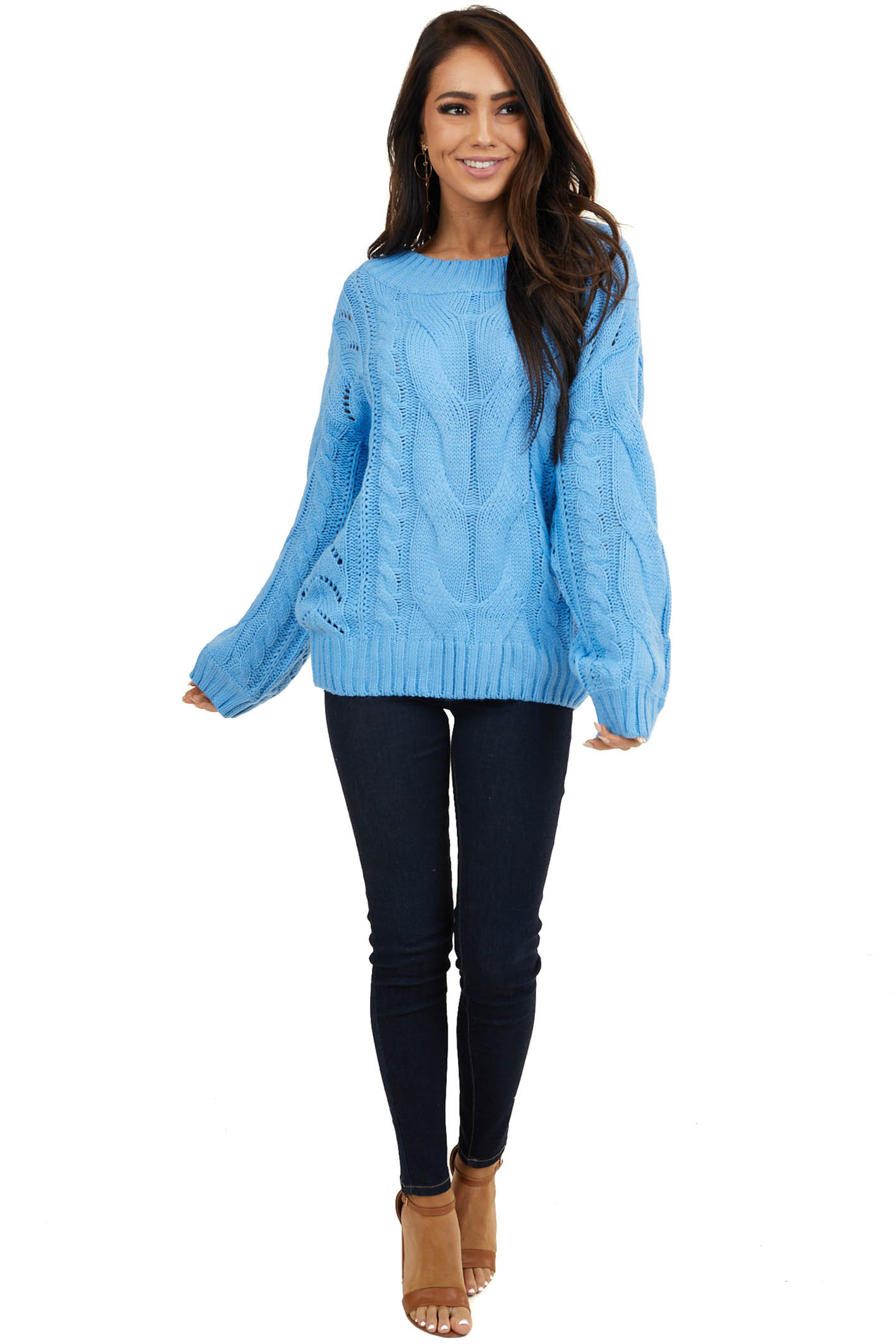 Bright Blue Cable Knit Long Sleeve Sweater