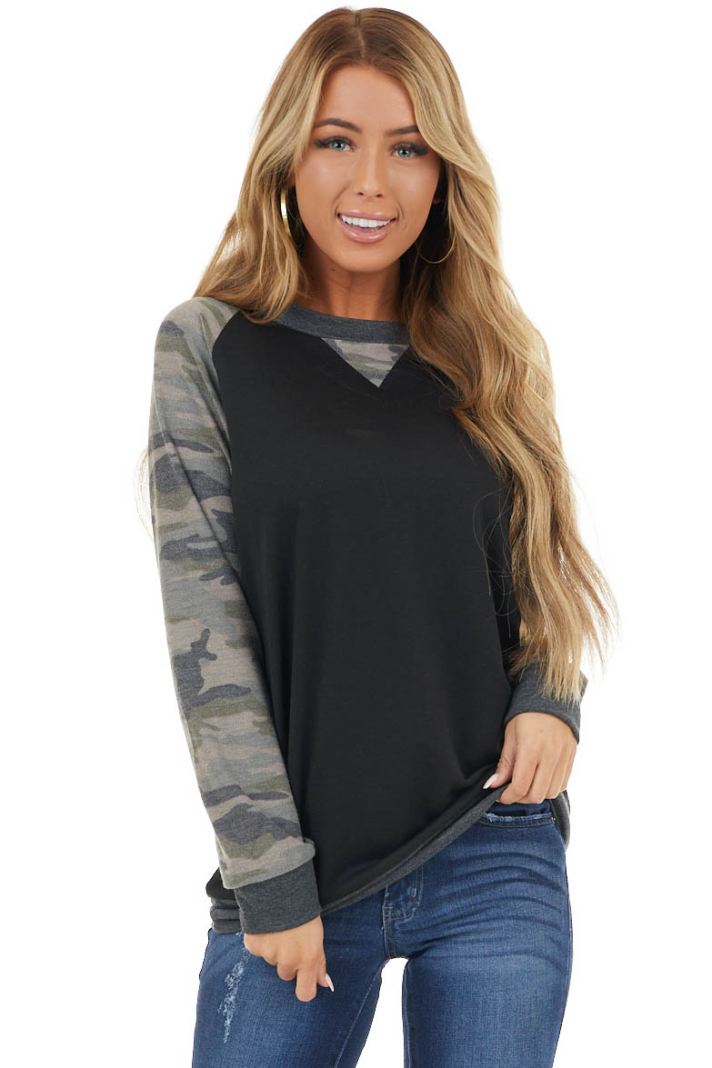 Black Knit Top with Long Camo Print Baseball Sleeves