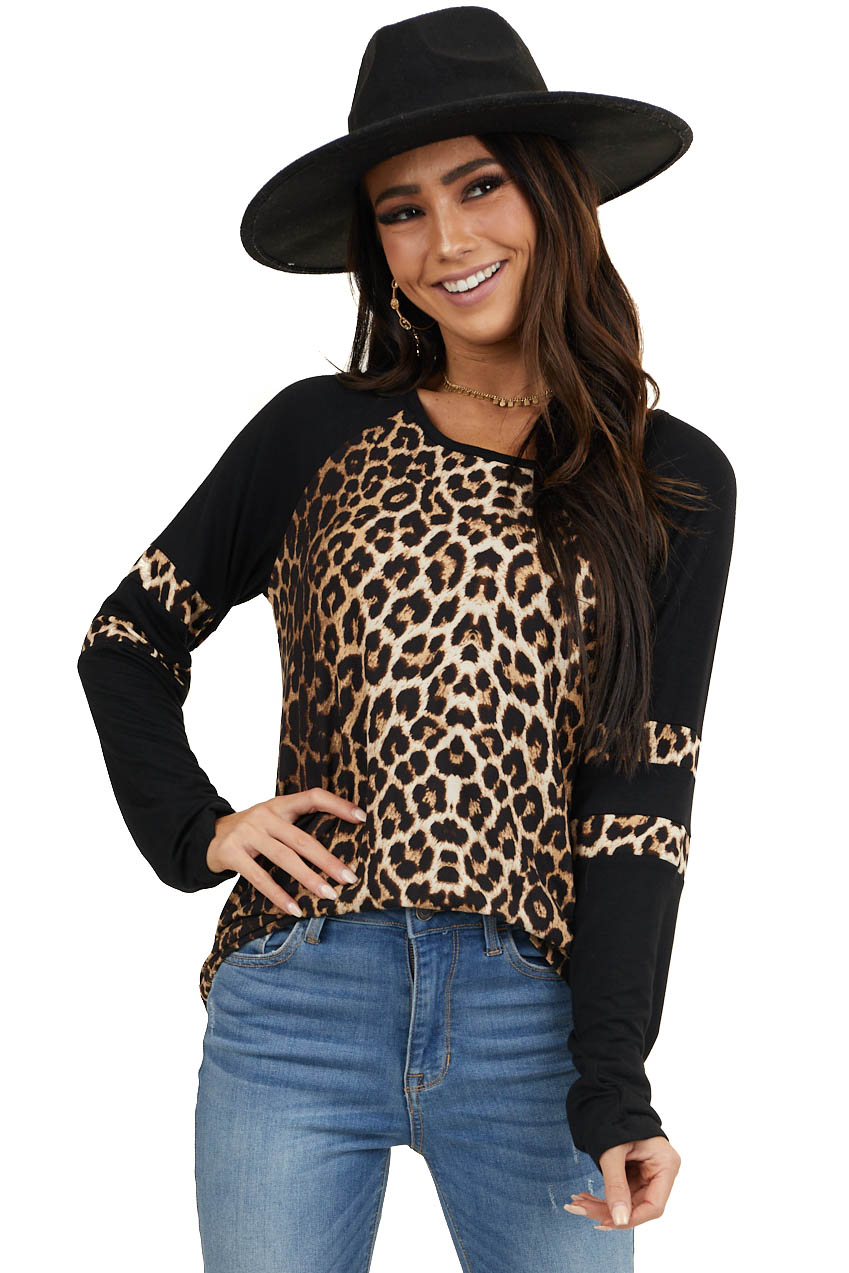 Black and Cream Leopard Print Long Sleeve Knit Top