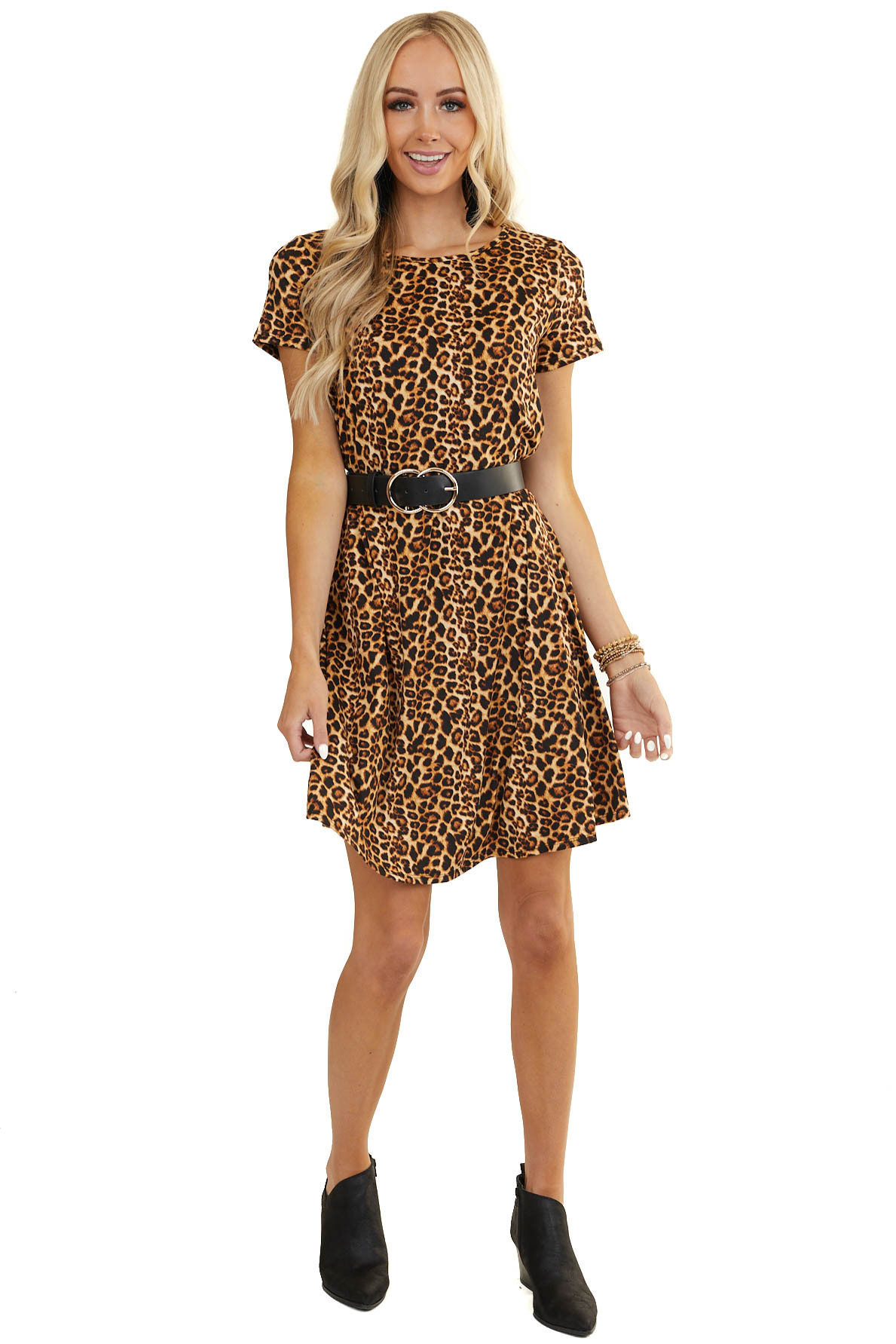 Camel Leopard Super Soft Mini Swing Dress with Short Sleeves