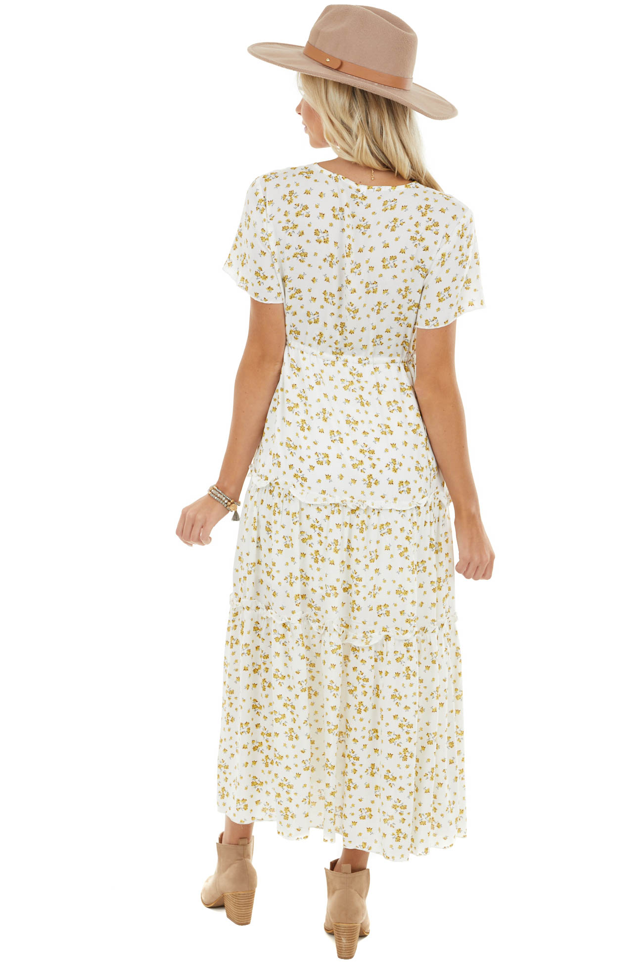 Ivory Floral Print V Neck Maxi Dress with Slit and Waist Tie