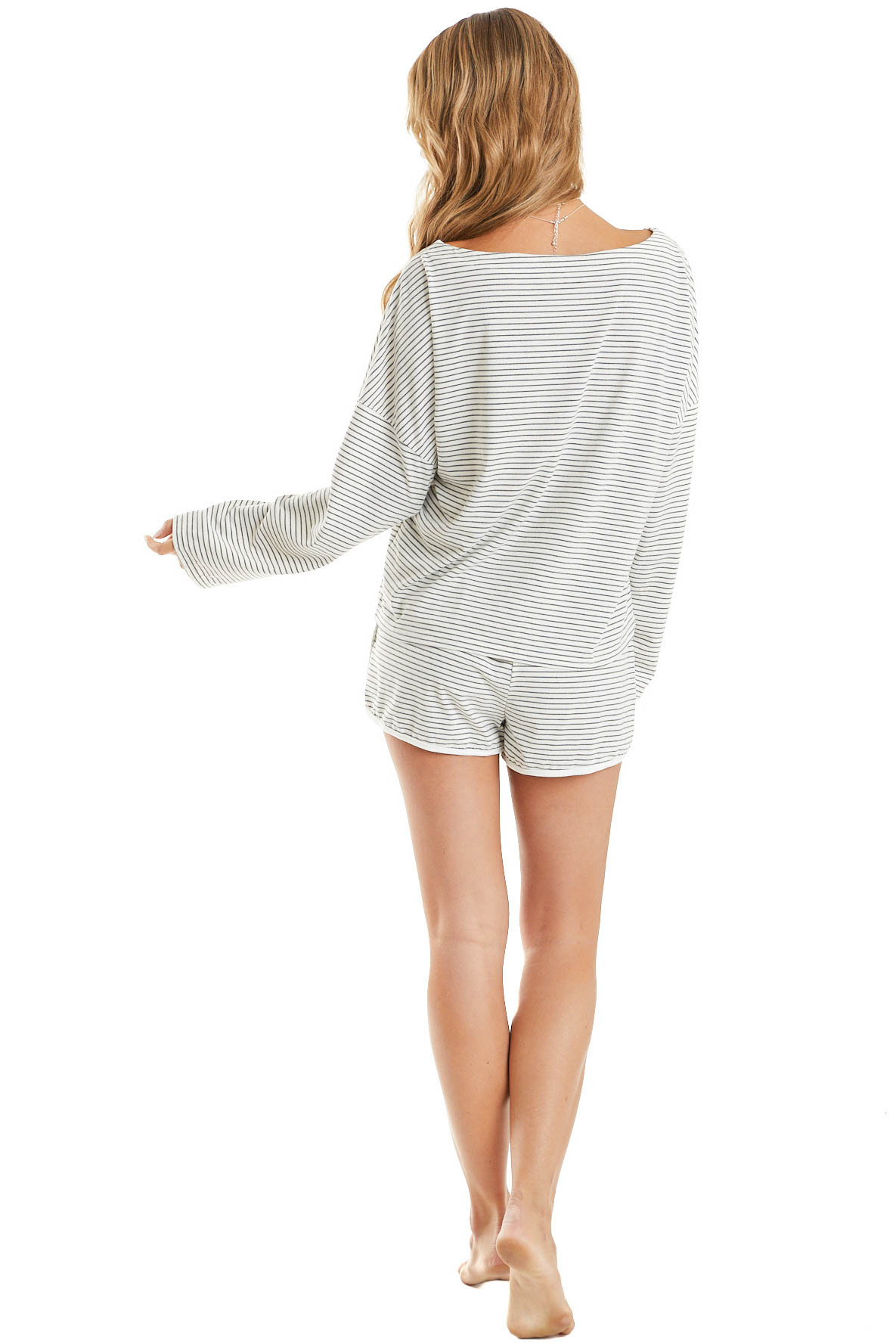 Charcoal Striped Long Sleeve Top and Shorts Loungewear Set