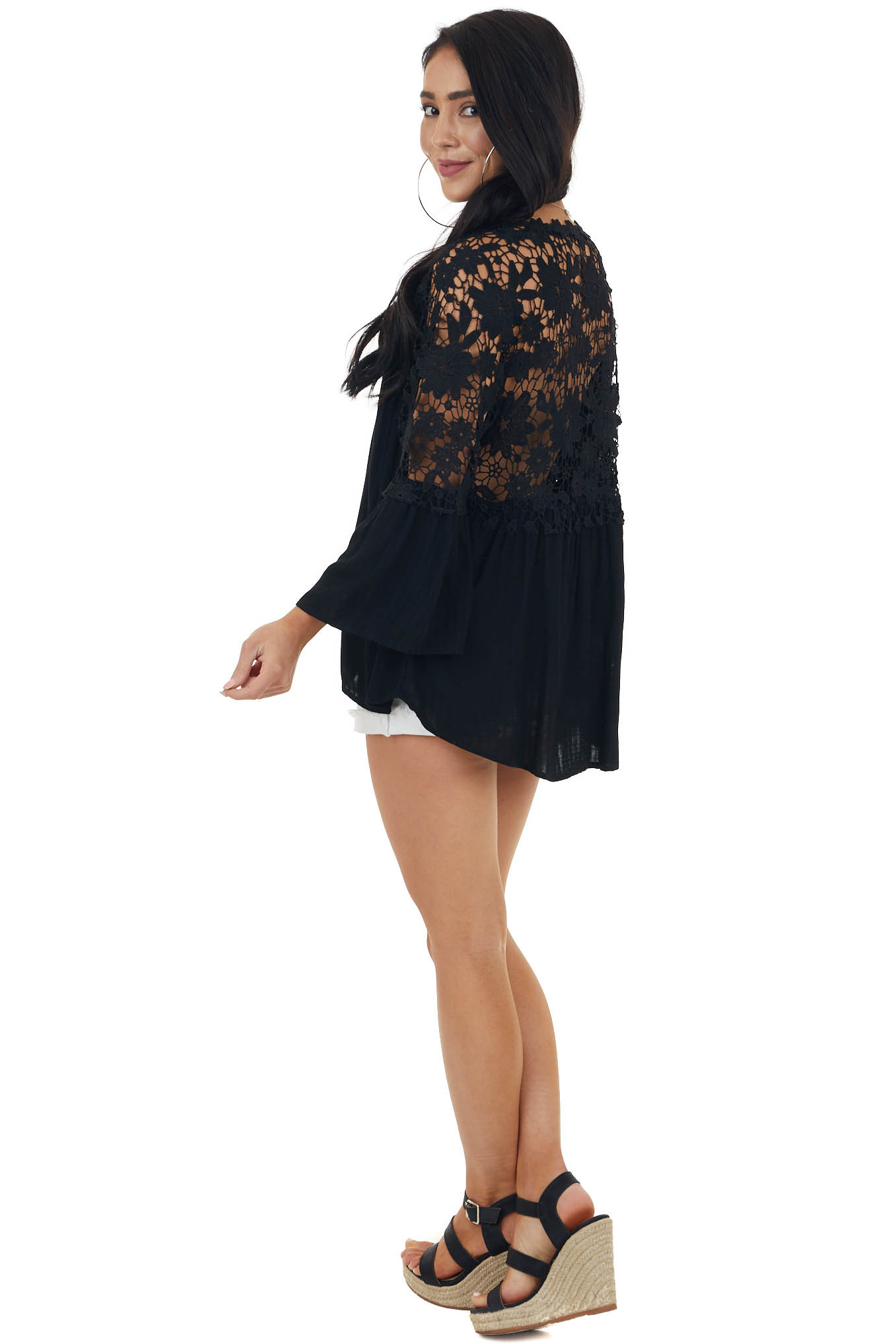 Black V Neck Blouse with Buttons and Crocheted Lace Details