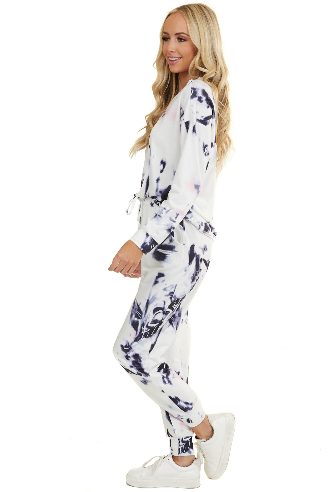 Periwinkle and Baby Pink Tie Dye Long Sleeve and Joggers Set