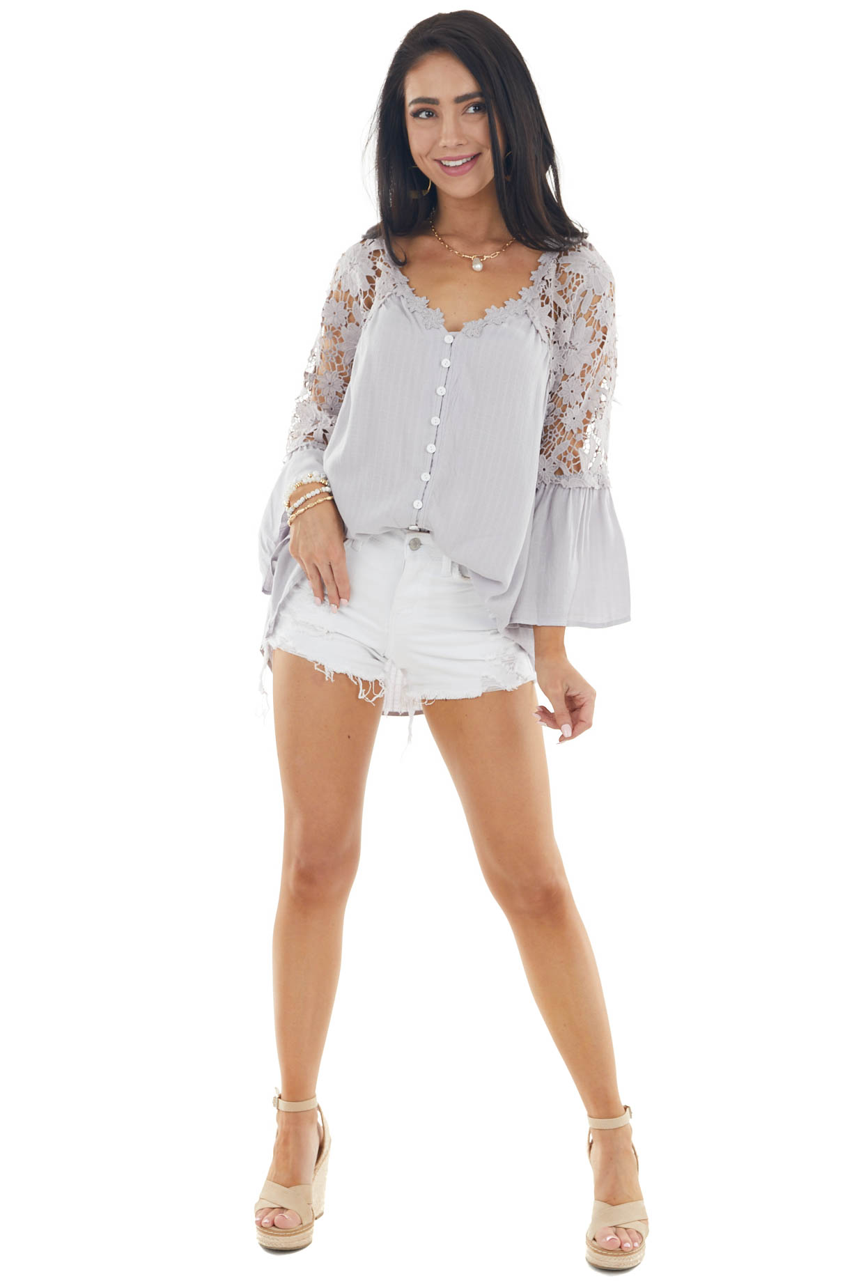 Dove V Neck Blouse with Buttons and Crocheted Lace Details