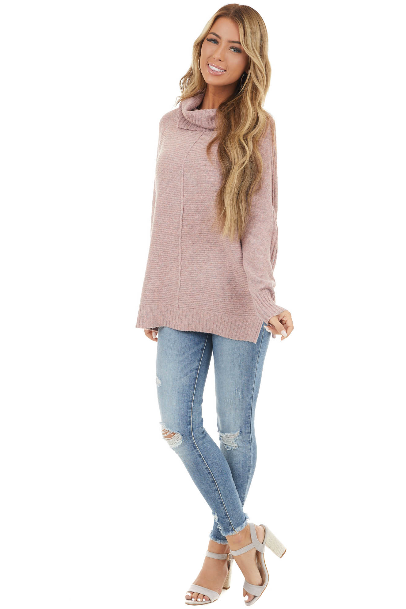 Dusty Blush Cowl Neck Knit Sweater with Texture Detail