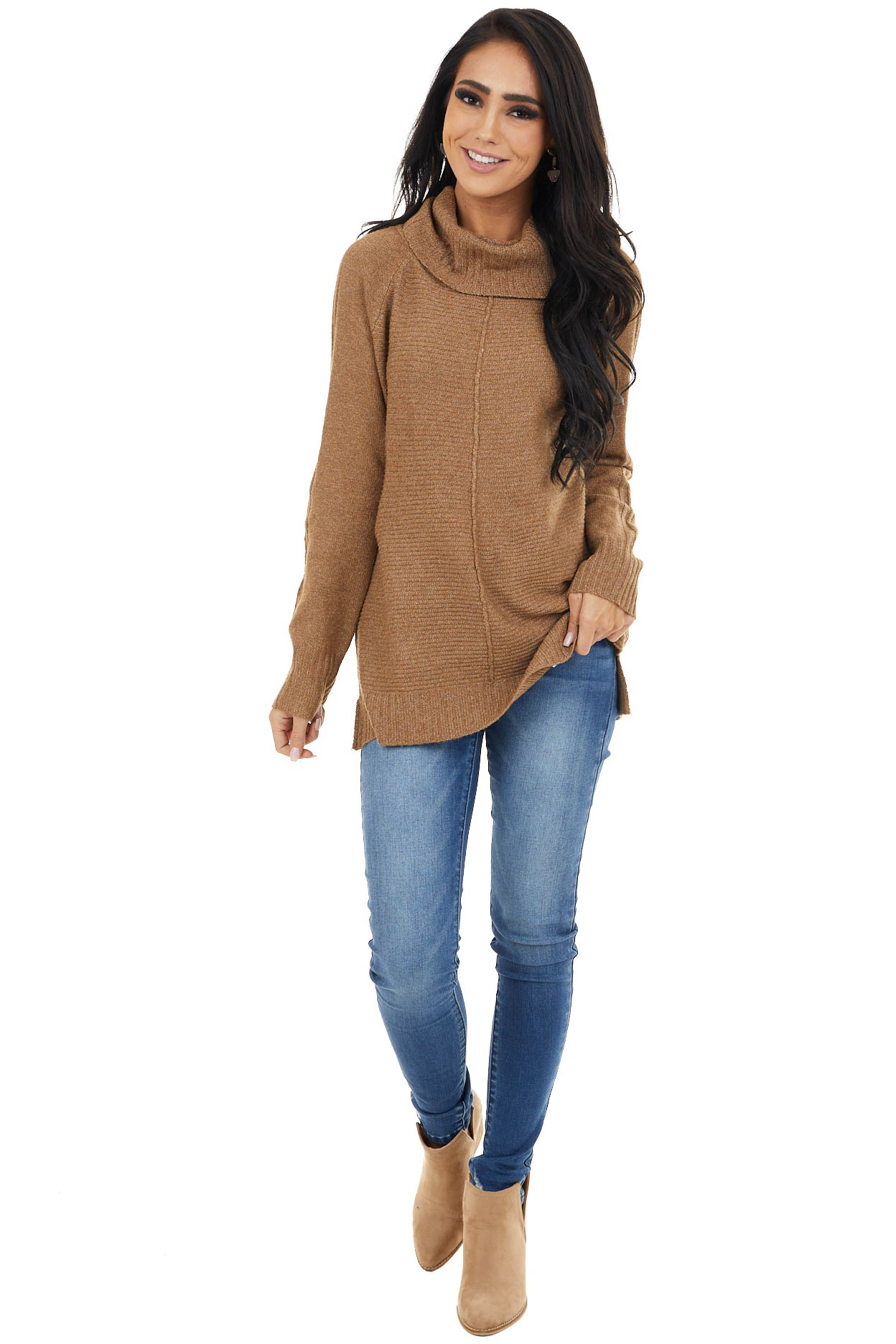 Heathered Camel Cowl Neck Knit Sweater with Texture Detail