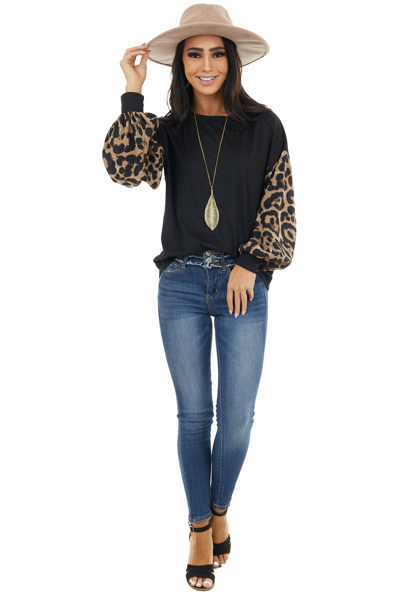 Black Knit Top with Contrast Woven Leopard Bubble Sleeves