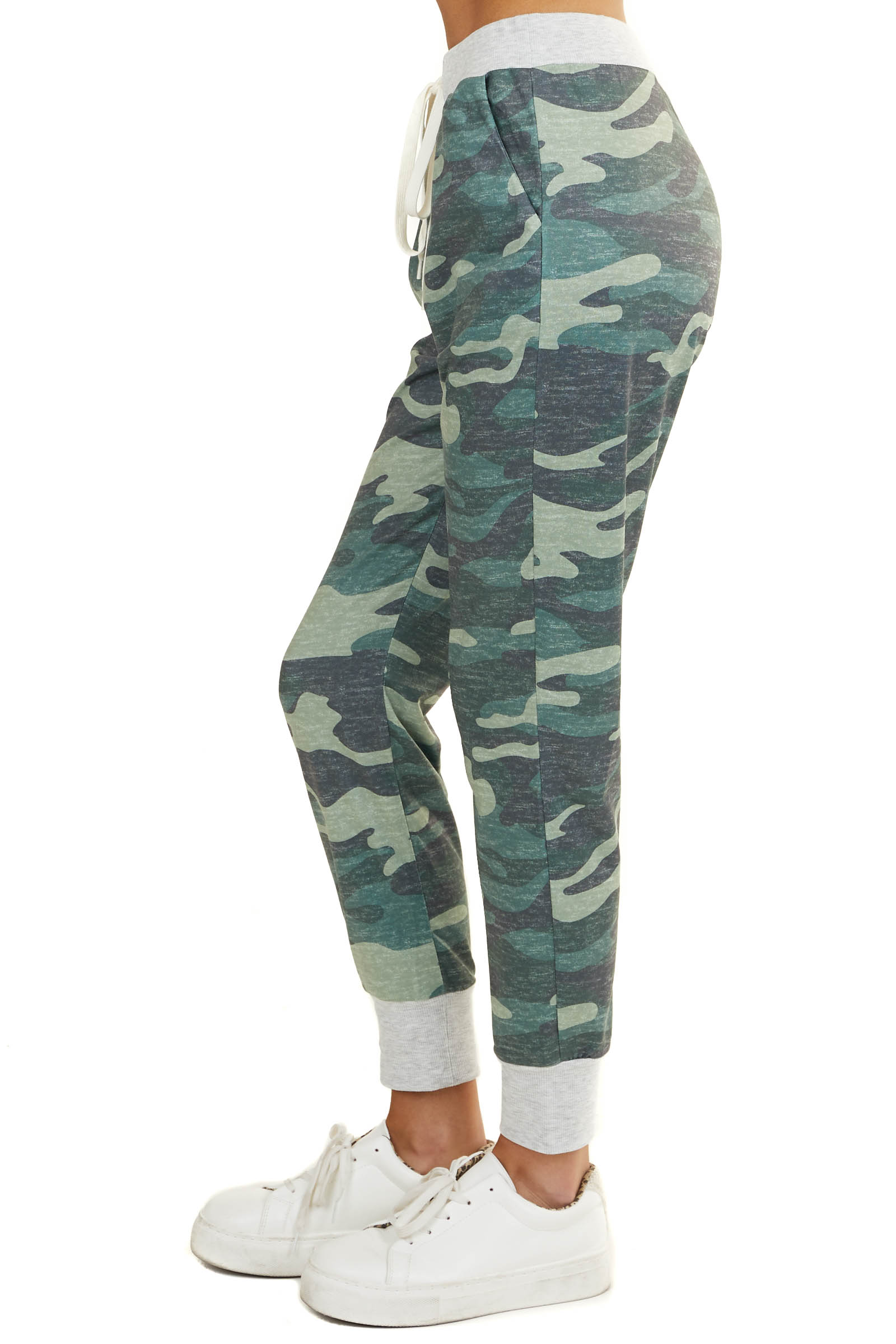 Forest Green Camo Print Joggers with Drawstrings and Pockets