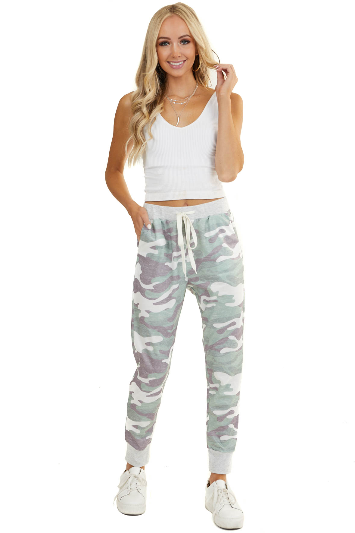 Sage Green Camo Print Joggers with Drawstrings and Pockets