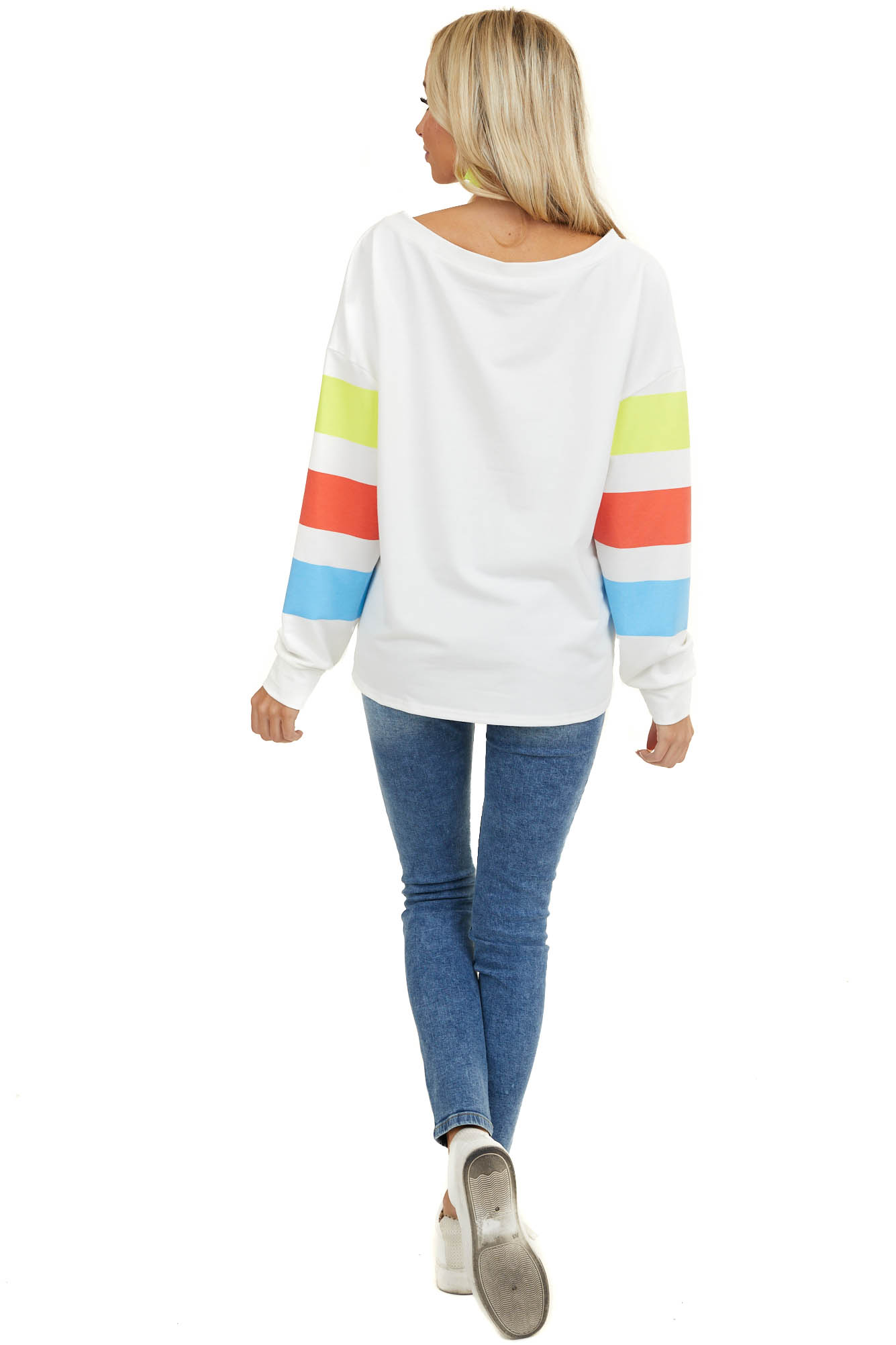 Neon Yellow and Azure Blue Striped Long Sleeve Knit Top