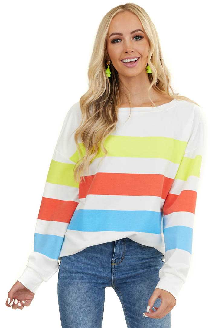 Neon Yellow and Azure Striped Block Long Sleeve Knit Top