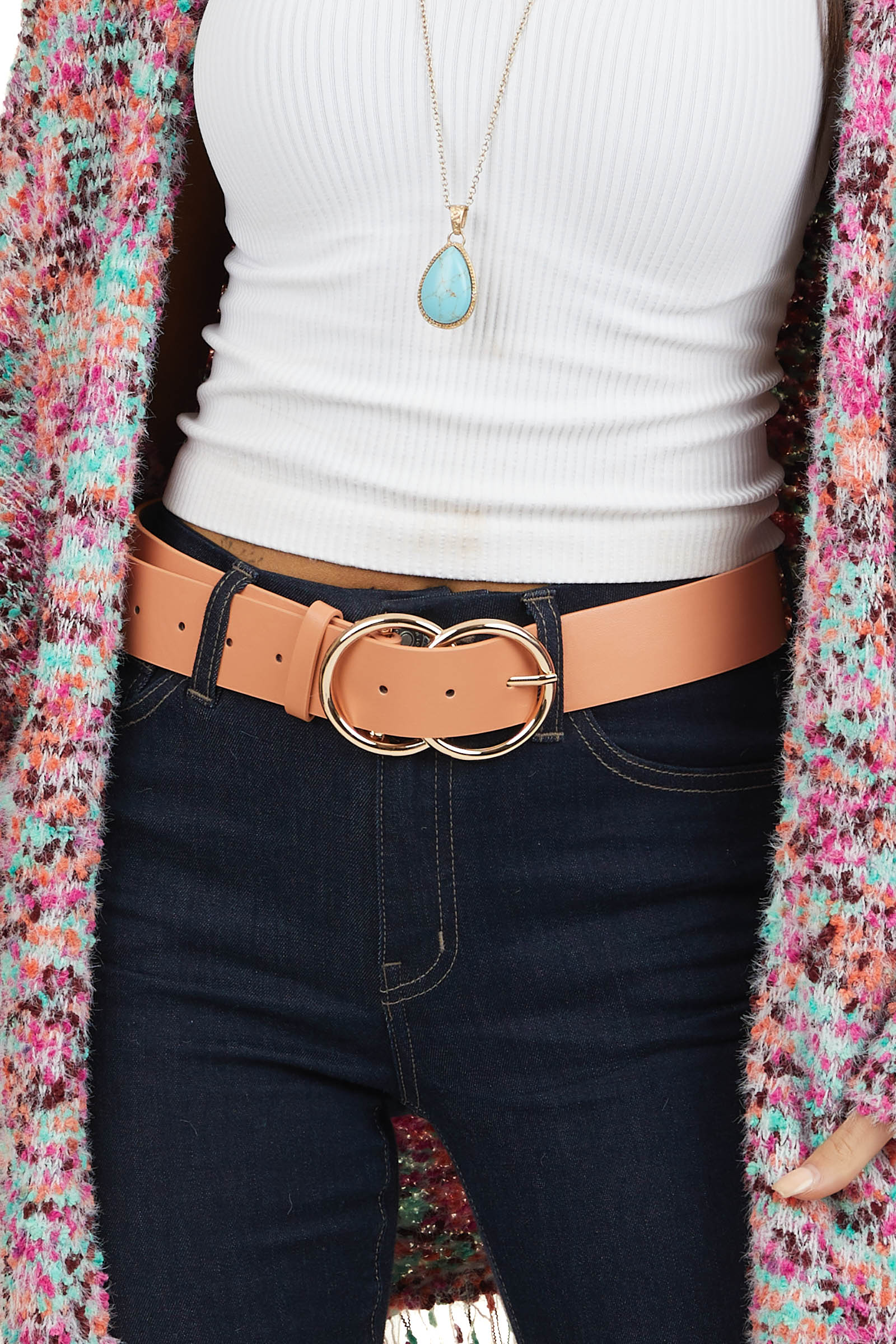 Salmon Faux Leather Belt with Gold Double Ring Buckle