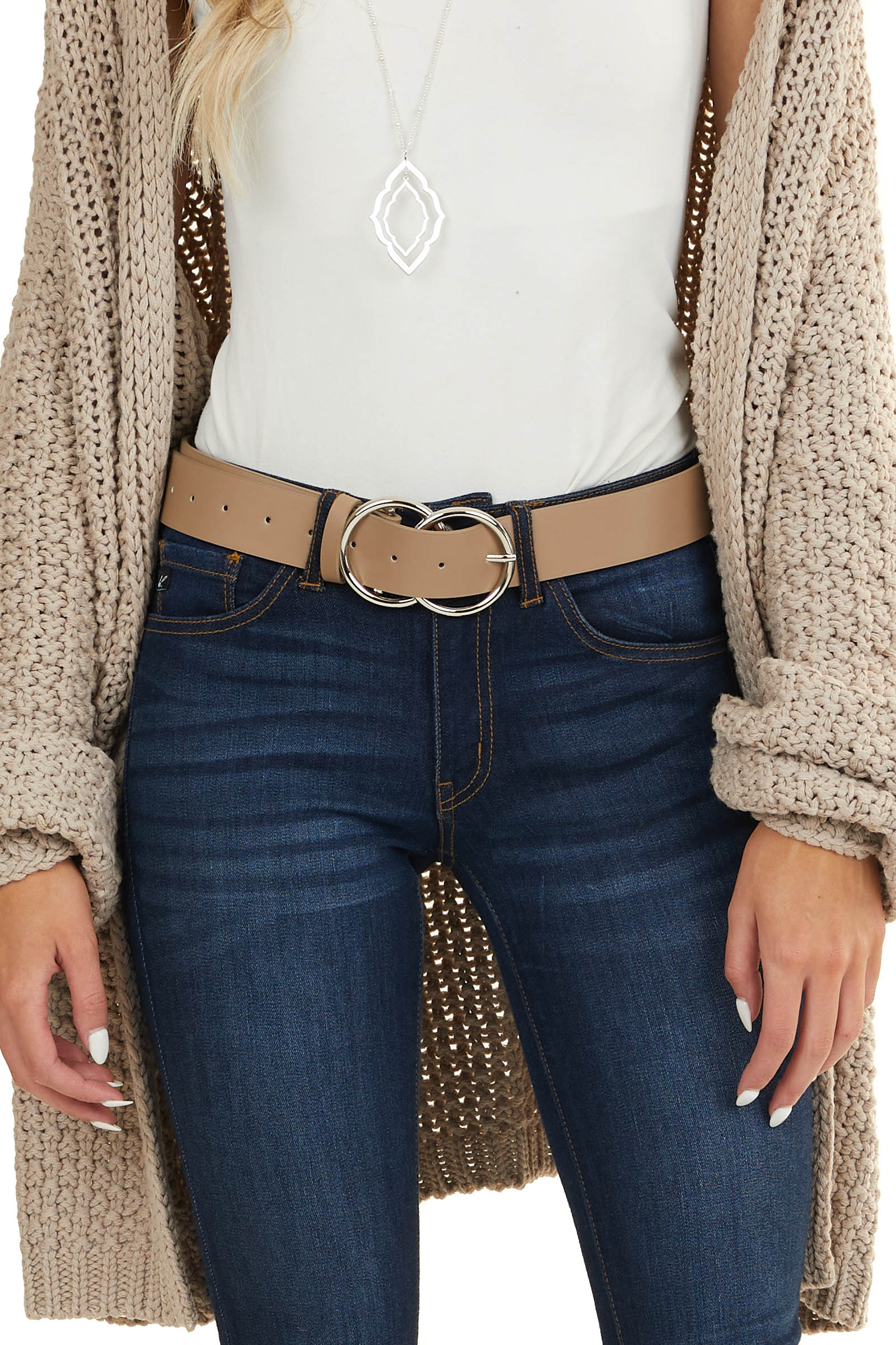 Taupe Faux Leather Belt with Silver Double Ring Buckle
