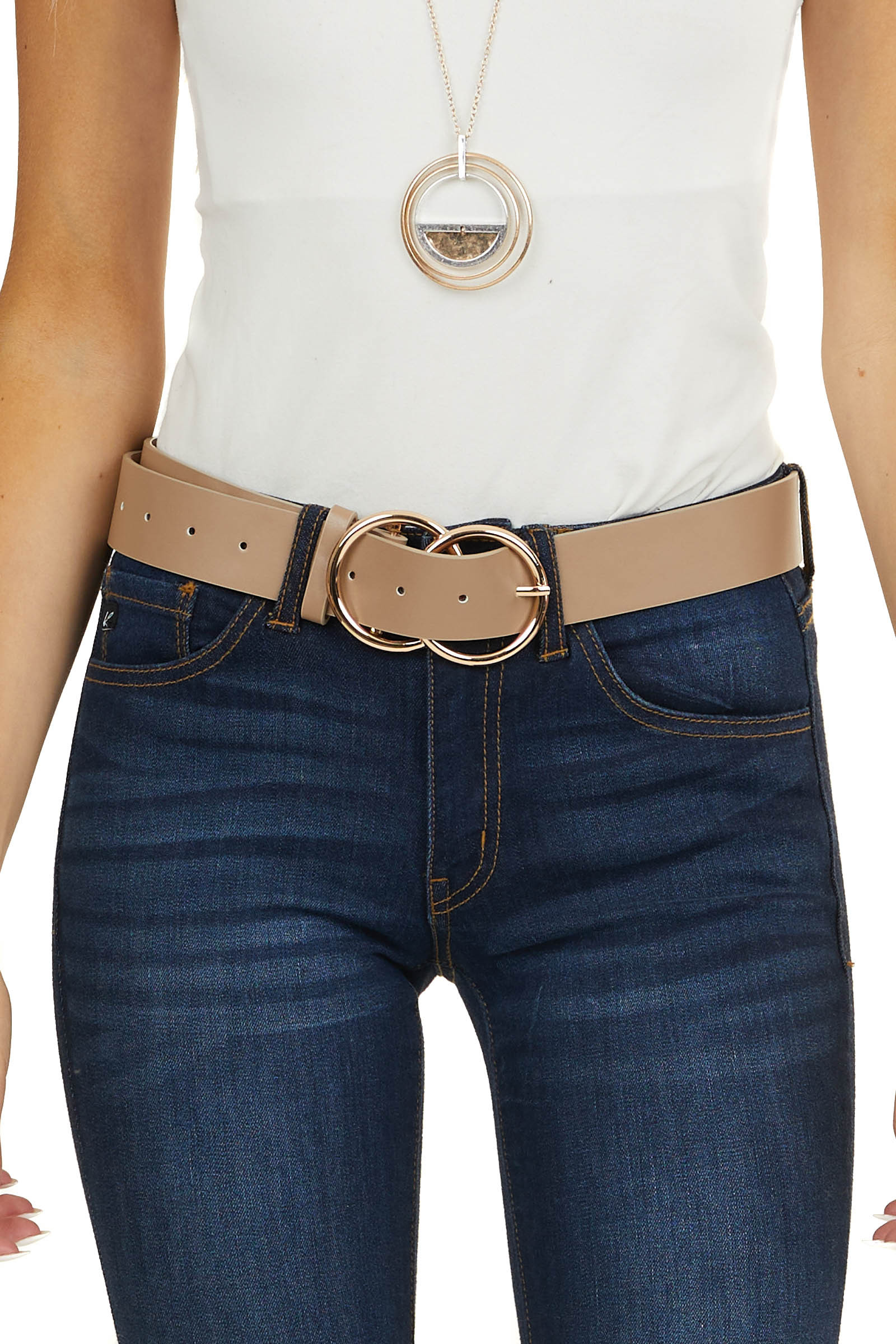 Taupe Faux Leather Belt with Gold Double Ring Buckle
